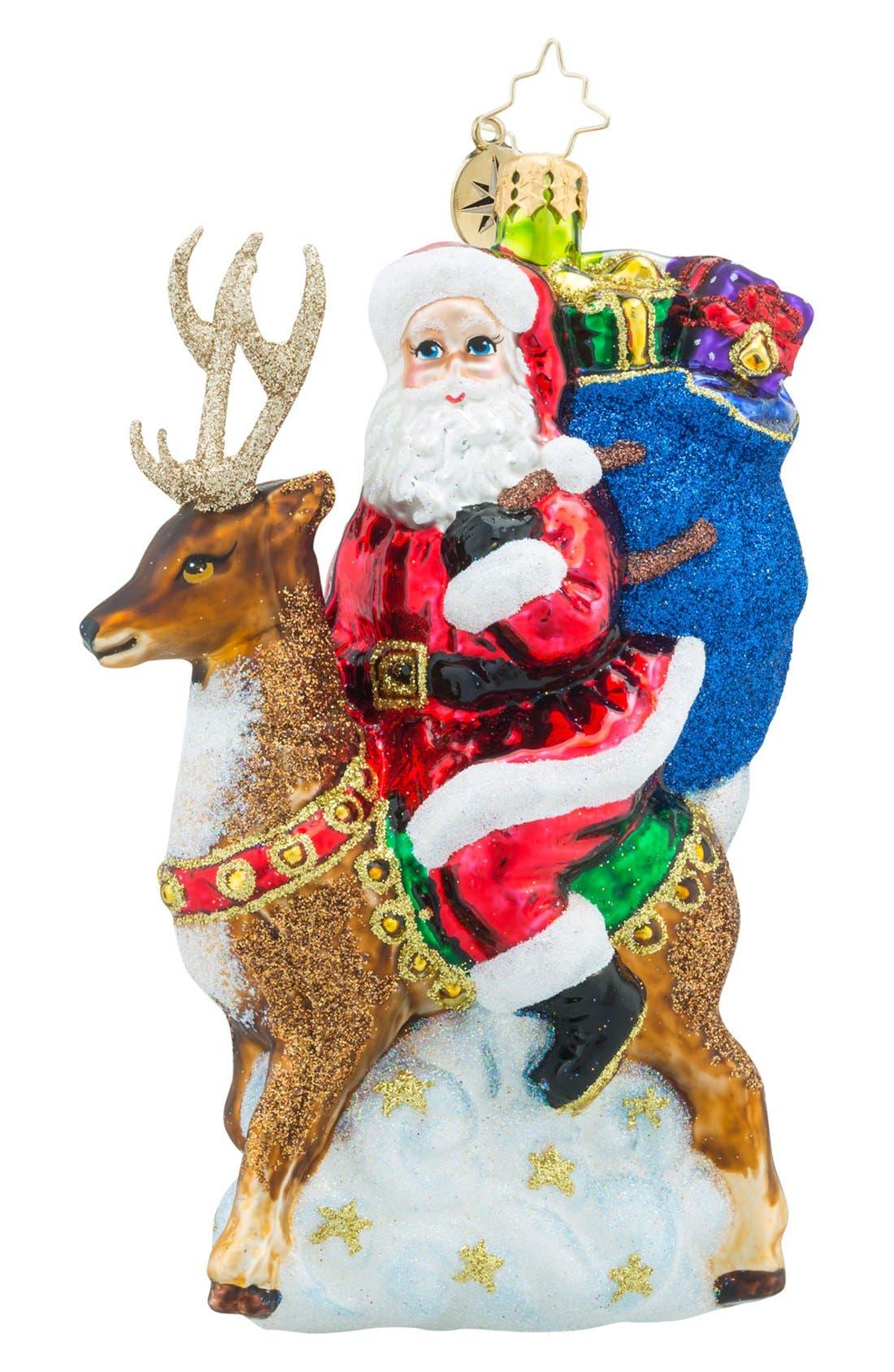 'Love My Ride' Santa & Reindeer Ornament,                         Main,                         color, Red/ Multi