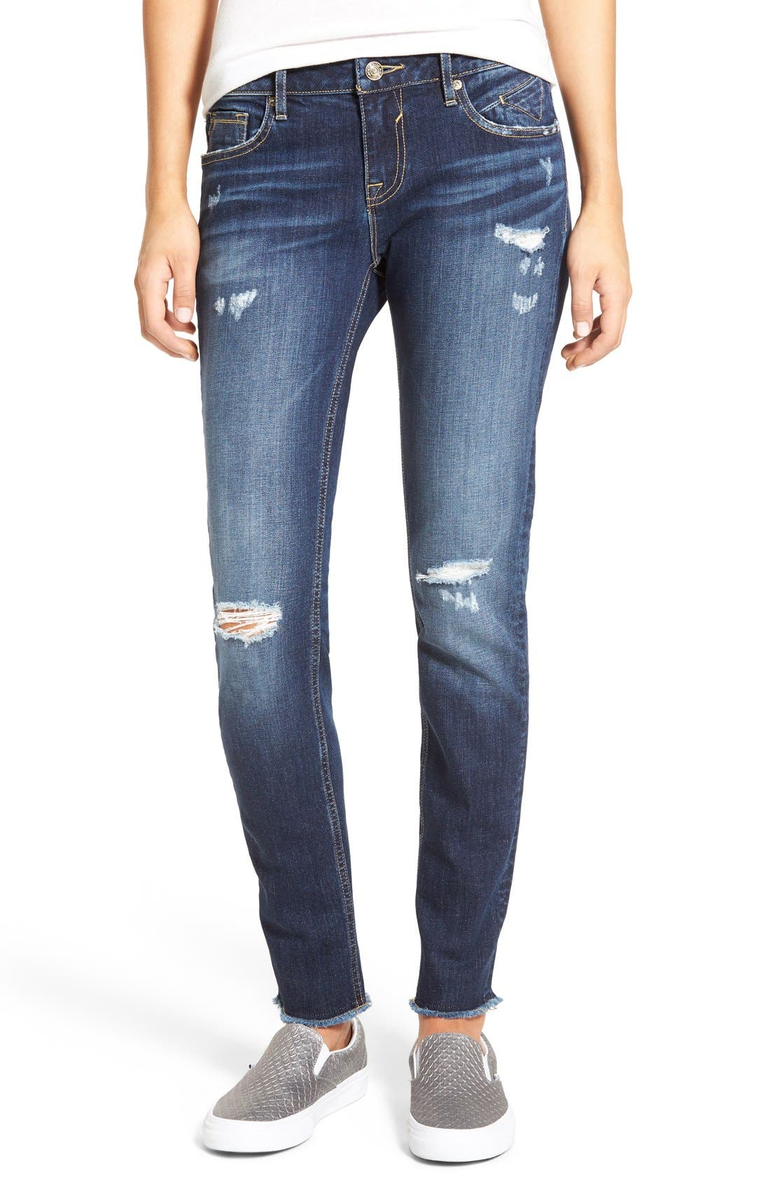 Main Image - Vigoss 'Chelsea' Frayed Hem Skinny Jeans