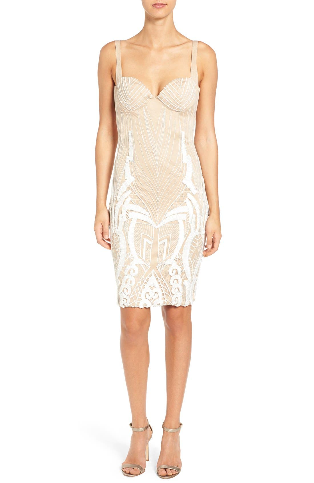 'Cara' Backless Ribbon Lace Embroidered Tulle Sheath Dress,                         Main,                         color, Ivory/Nude