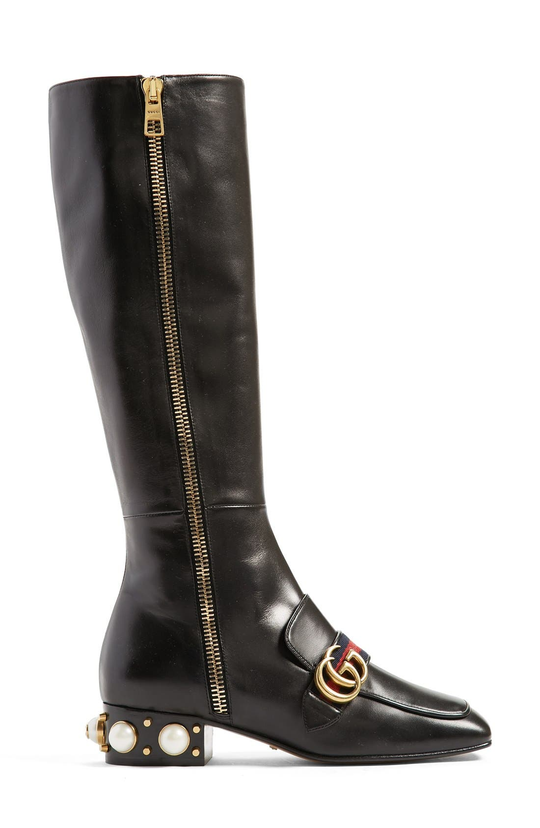 Embellished Riding Boot,                             Alternate thumbnail 4, color,                             Black