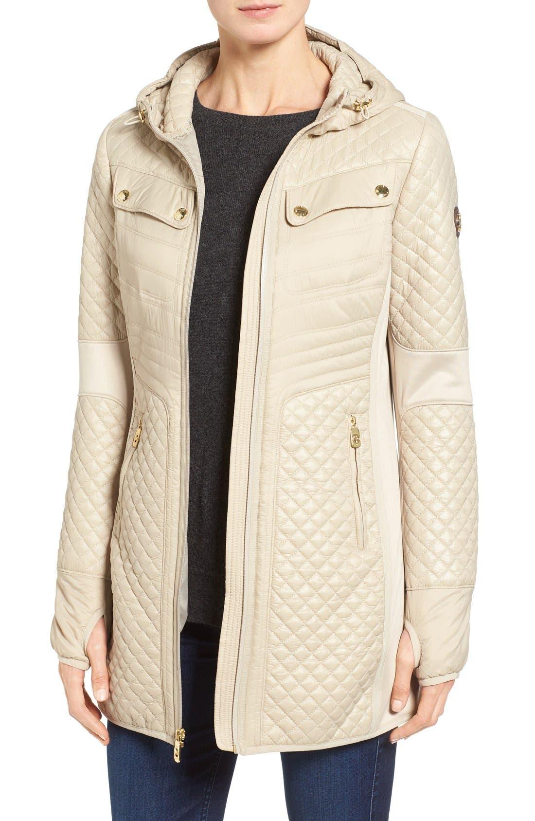Mixed Media Hooded Zip Front Coat,                         Main,                         color, Khaki