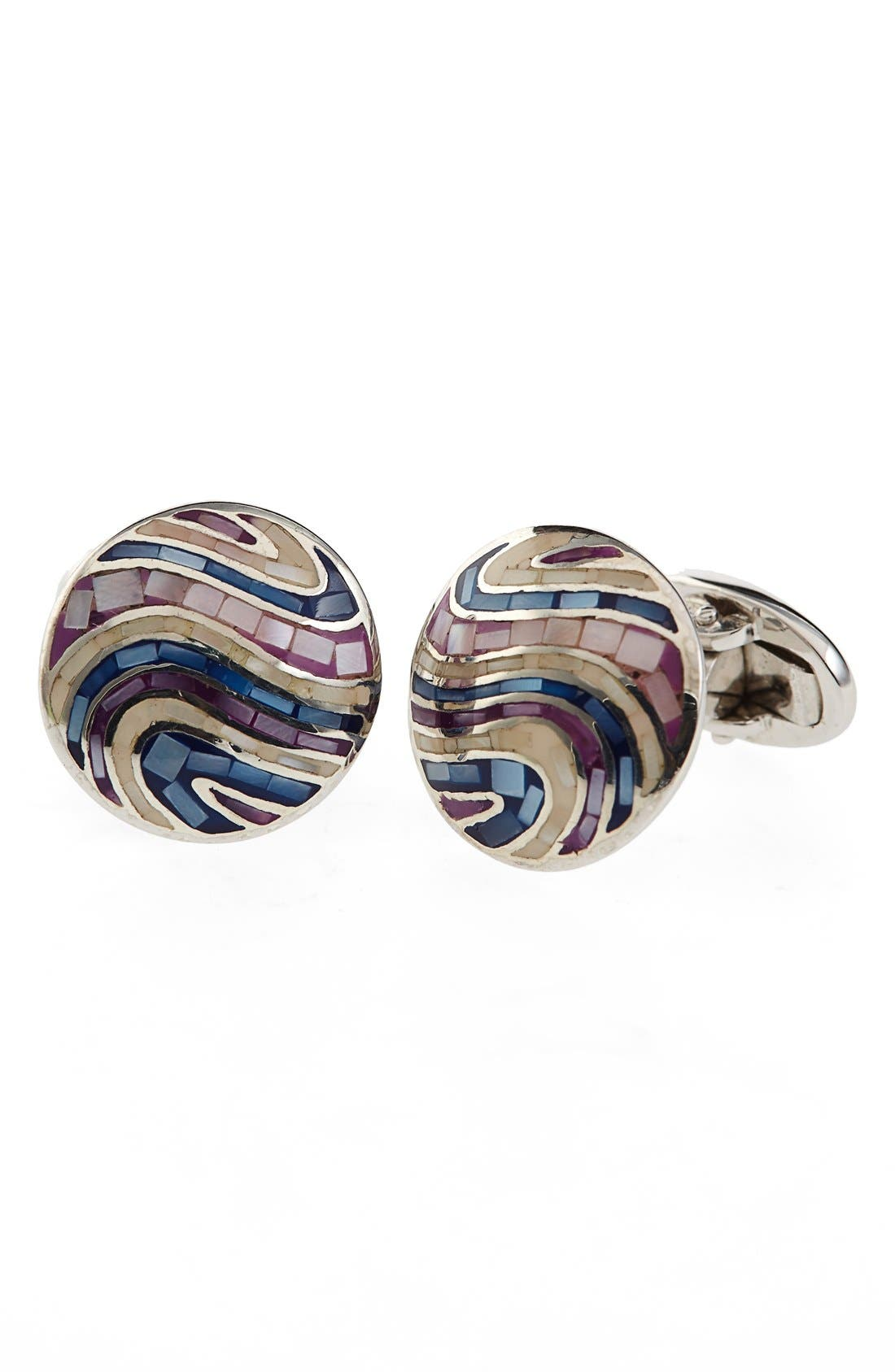 Mother-of-Pearl Tile Cuff Links,                         Main,                         color, Purple