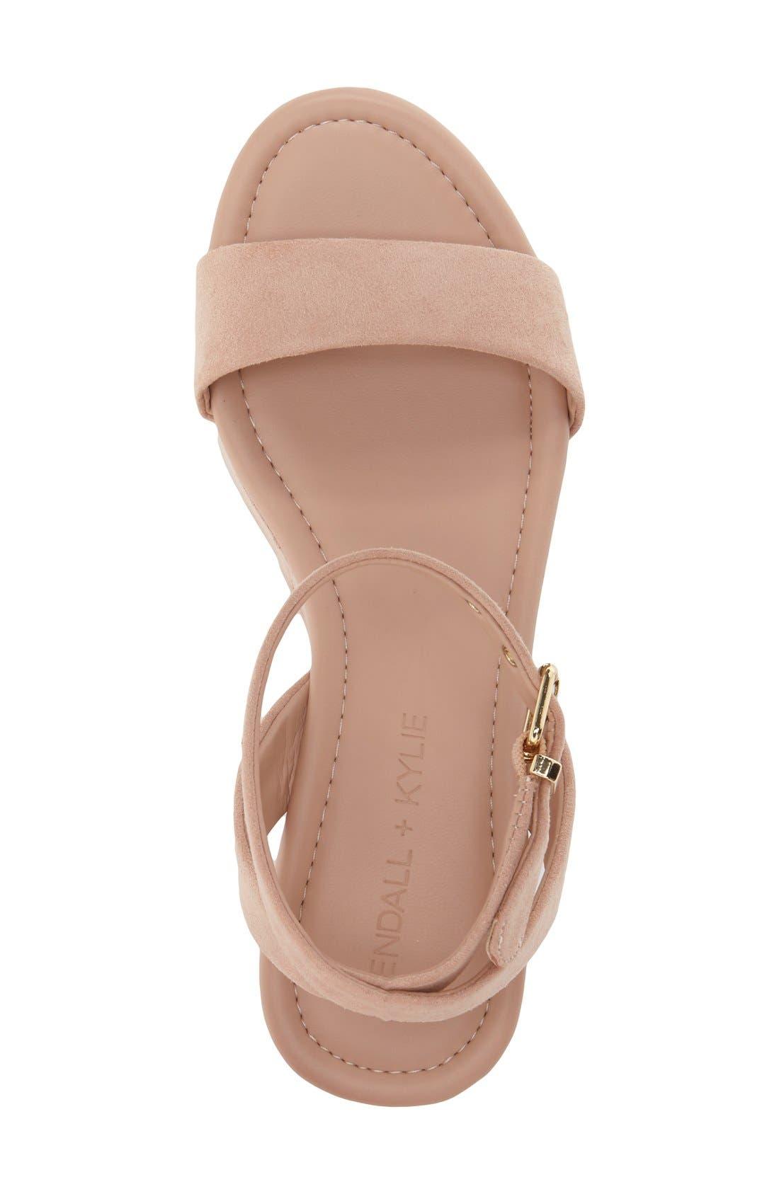 'Demi' Platform Sandal,                             Alternate thumbnail 3, color,                             Blush Suede