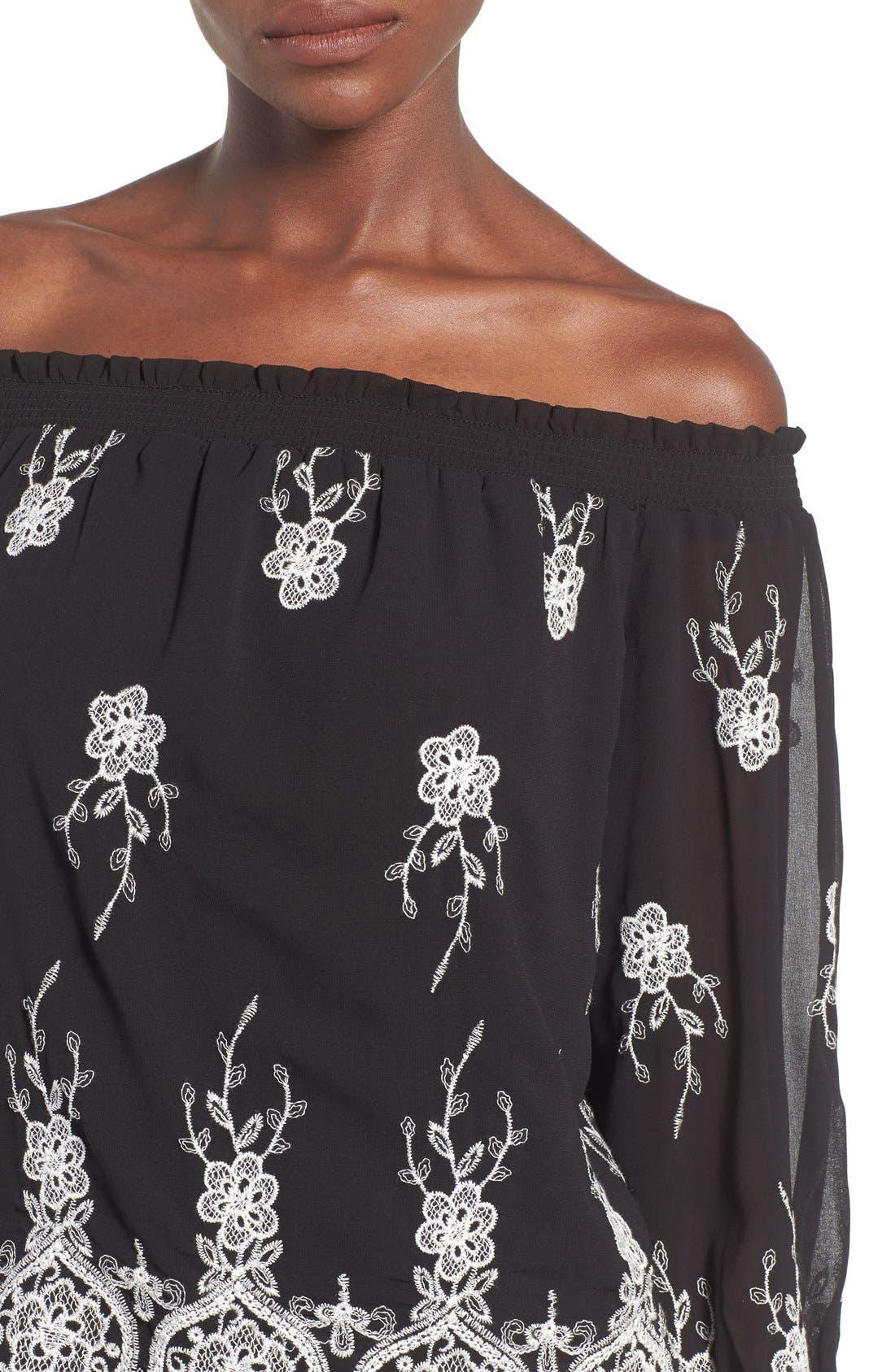Alternate Image 5  - WAYF Embroidered Off the Shoulder Top
