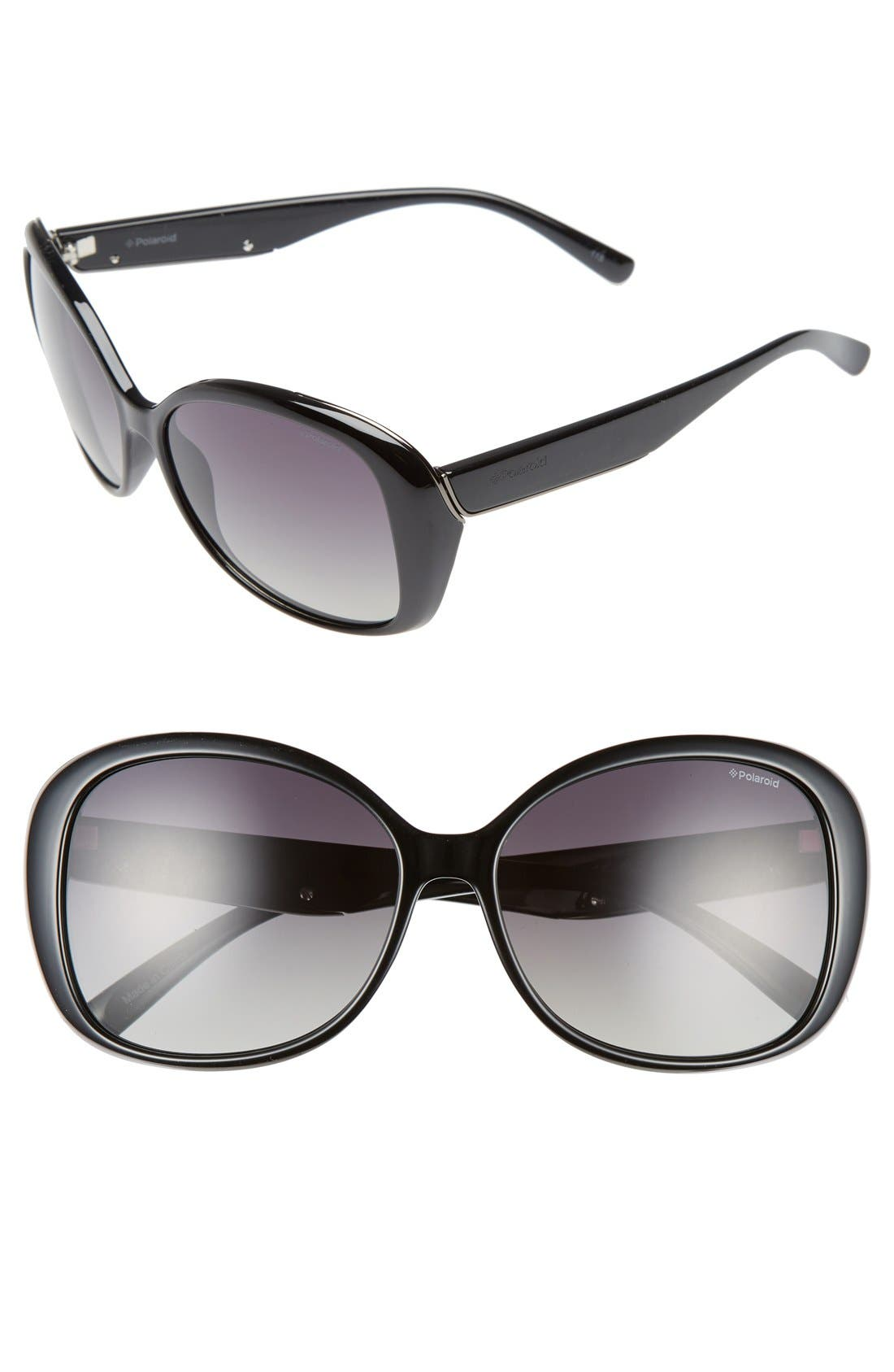 59mm Polarized Sunglasses,                             Main thumbnail 1, color,                             Shiny Black/ Green Polarized