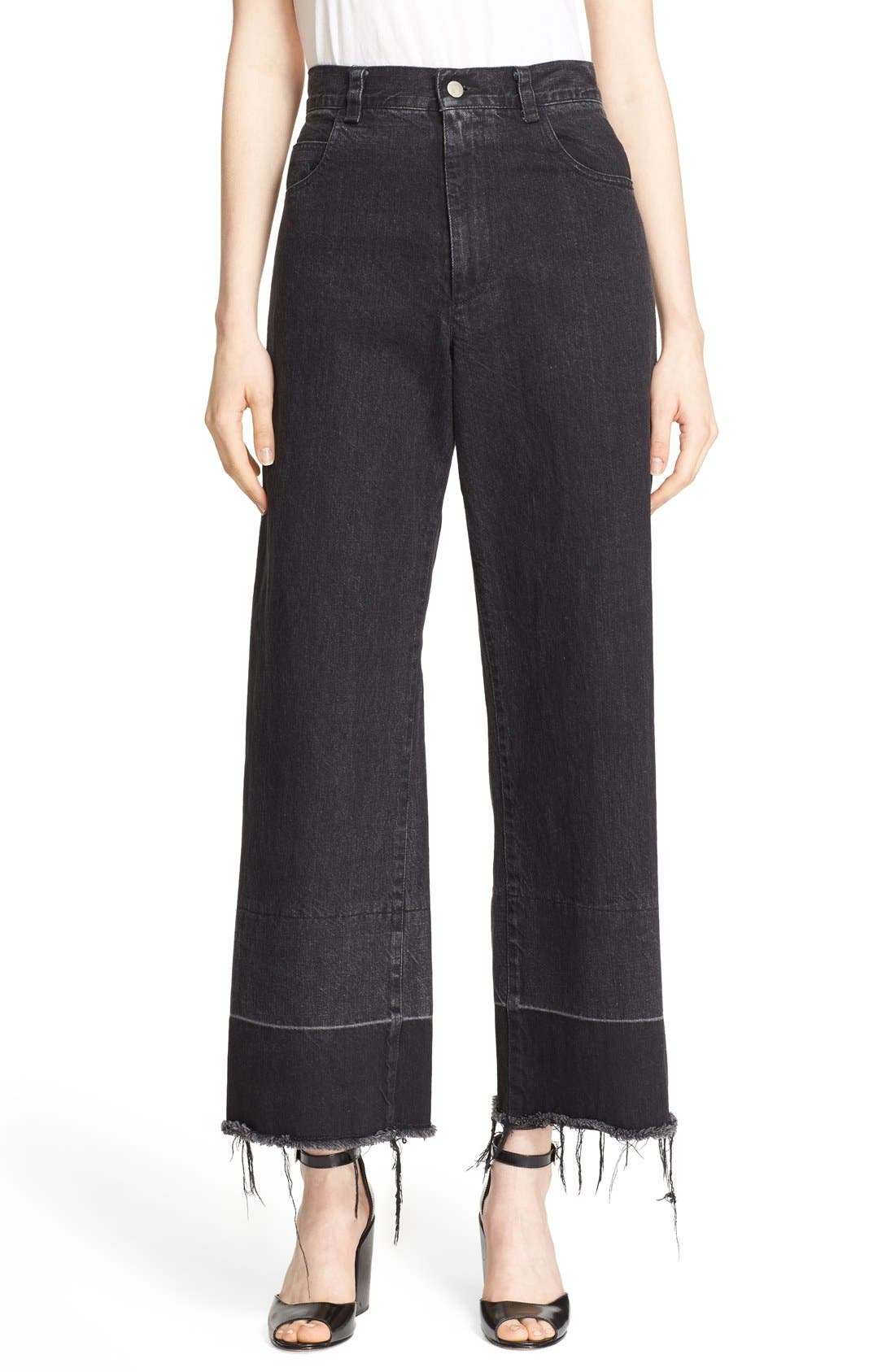 Legion Wide Leg Denim Pants,                             Main thumbnail 1, color,                             Washed Black