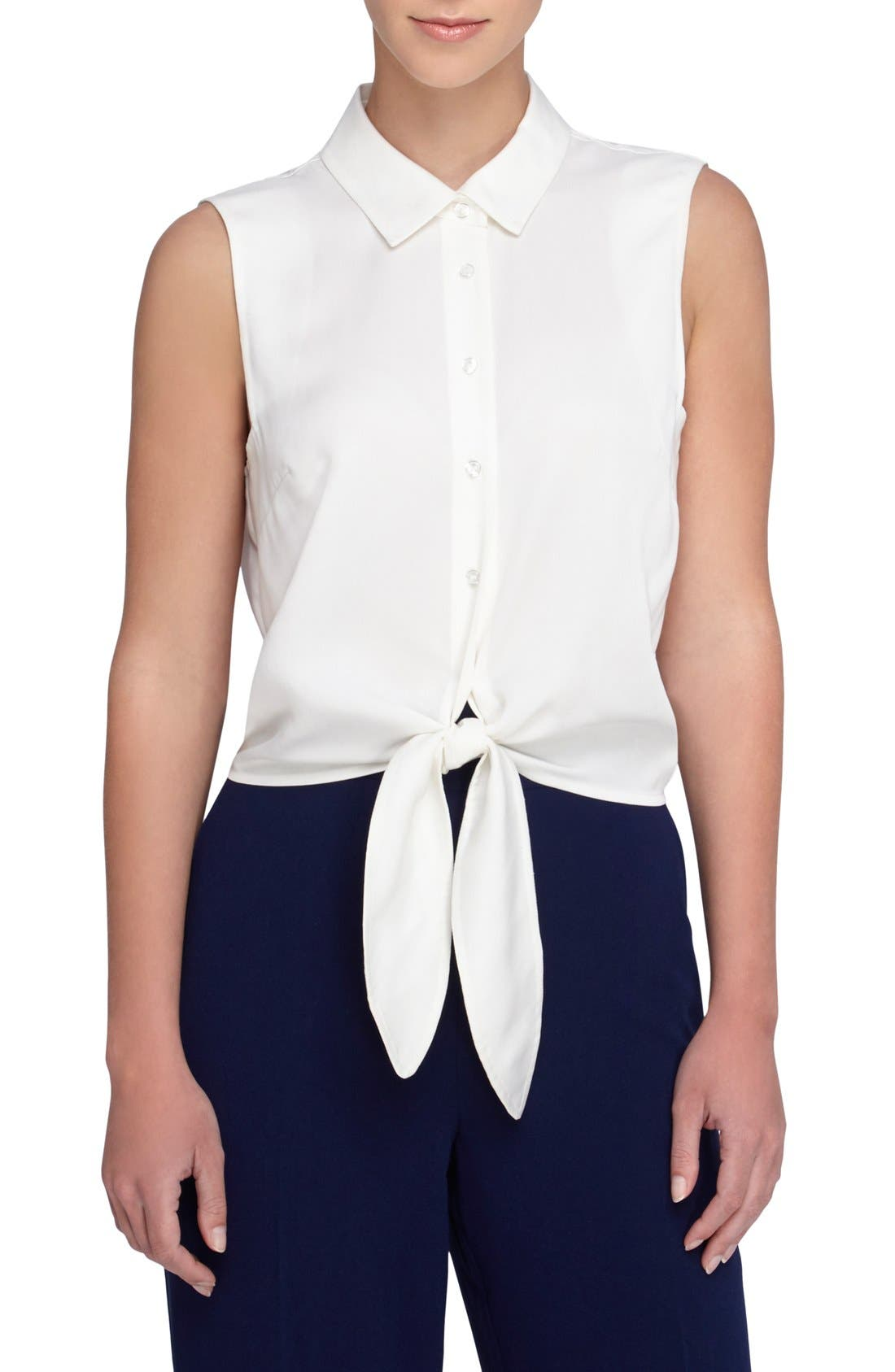 Main Image - Catherine Catherine Malandrino 'Colby' Sleeveless Tie Waist Blouse