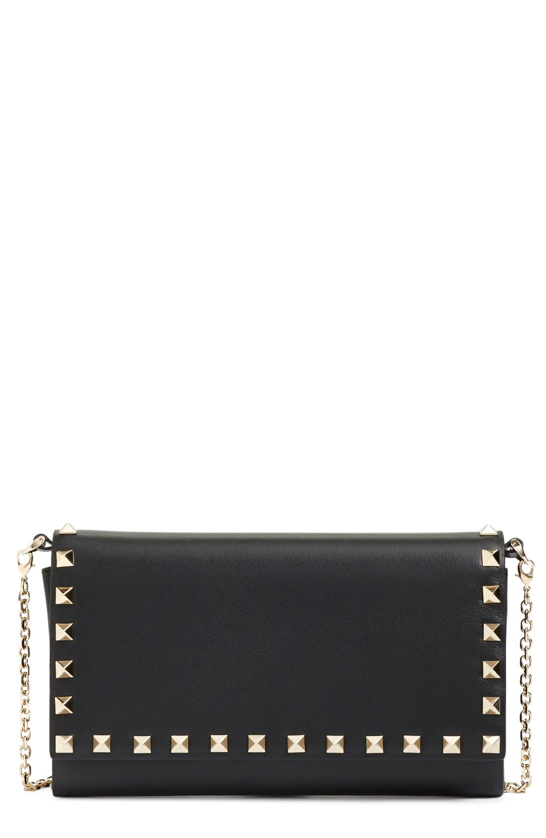 Main Image - Valentino 'Rockstud' Calfskin Leather Wallet on a Chain