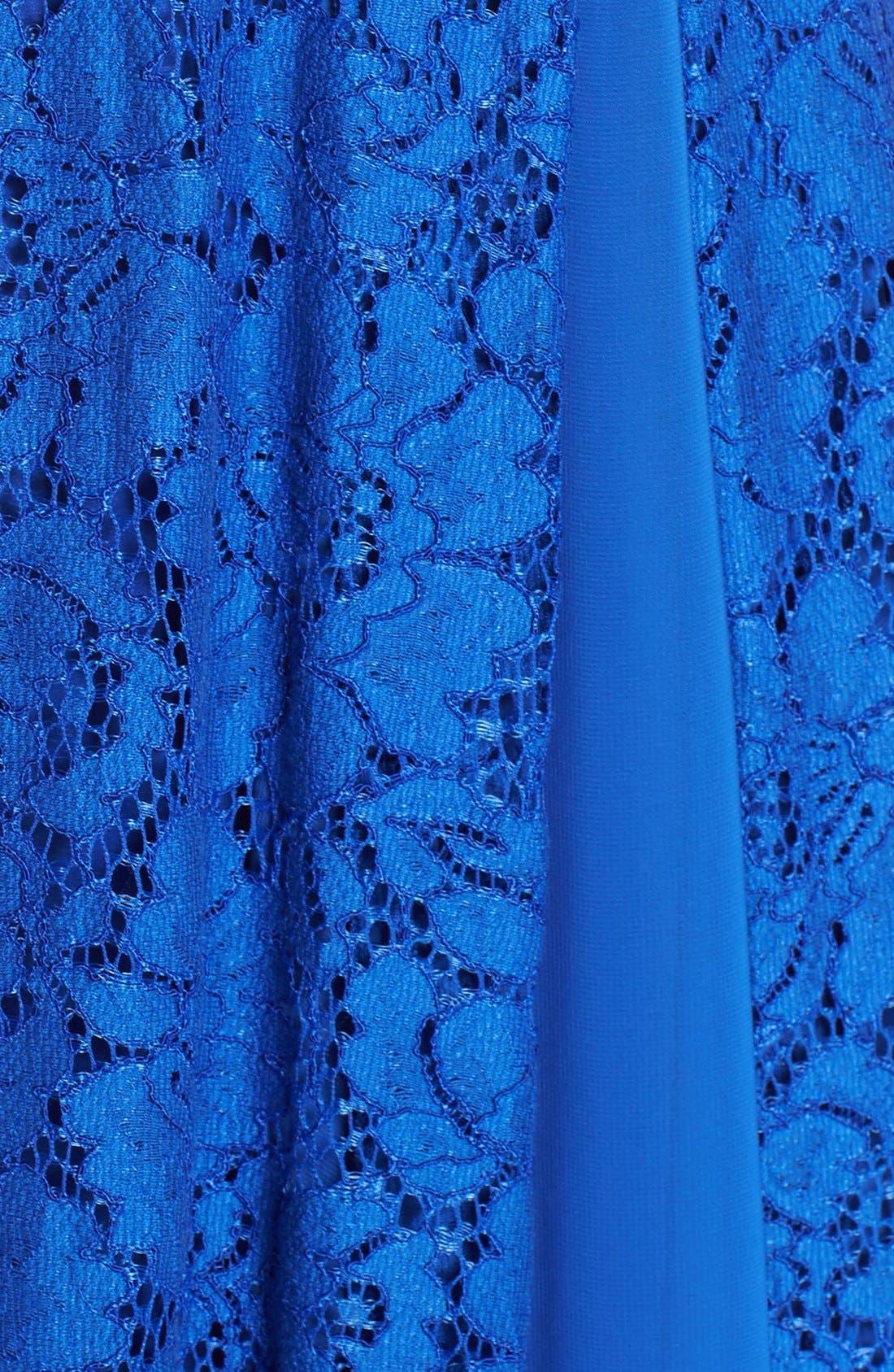 Alternate Image 5  - Aidan by Aidan Mattox Short Sleeve Lace Gown