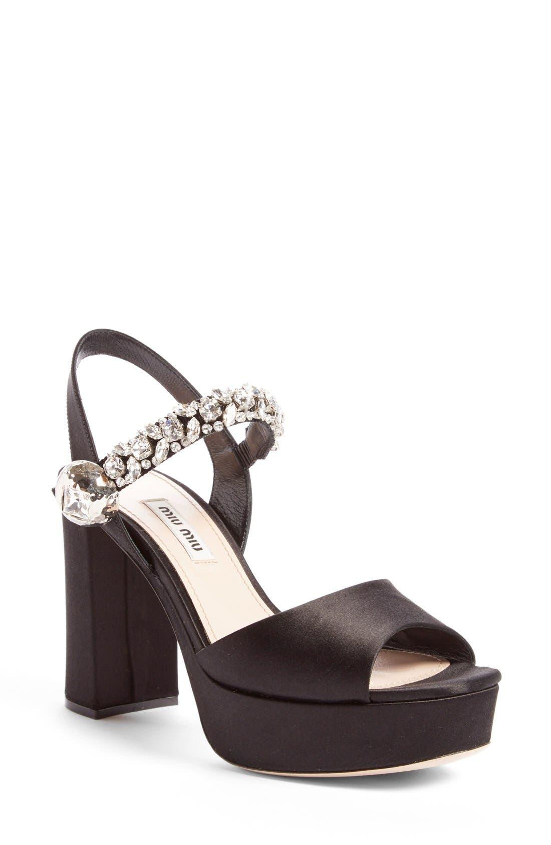 Alternate Image 1 Selected - Miu Miu Crystal Embellished Platform Sandal (Women)