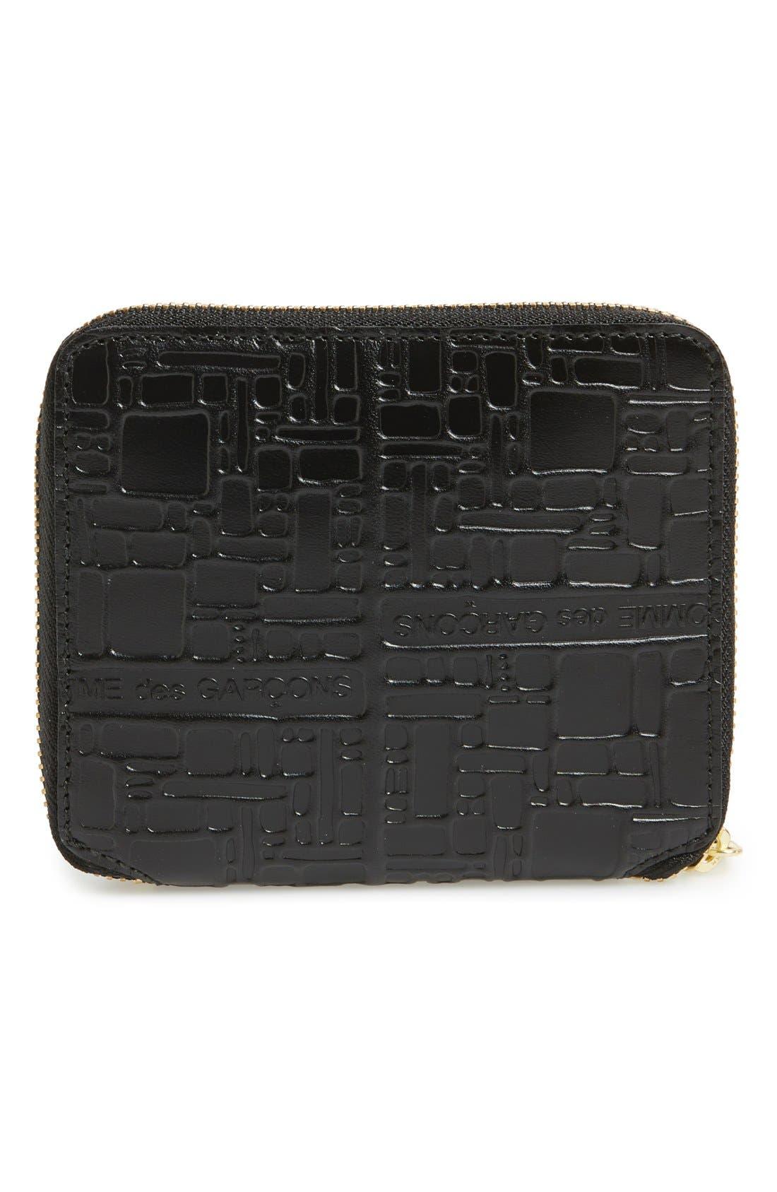 Comme de Garçons Embossed French Wallet,                             Alternate thumbnail 2, color,                             Black