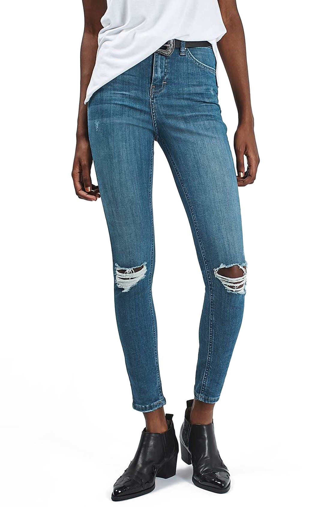 Alternate Image 1 Selected - Topshop 'Jamie' Ripped Ankle Skinny Jeans