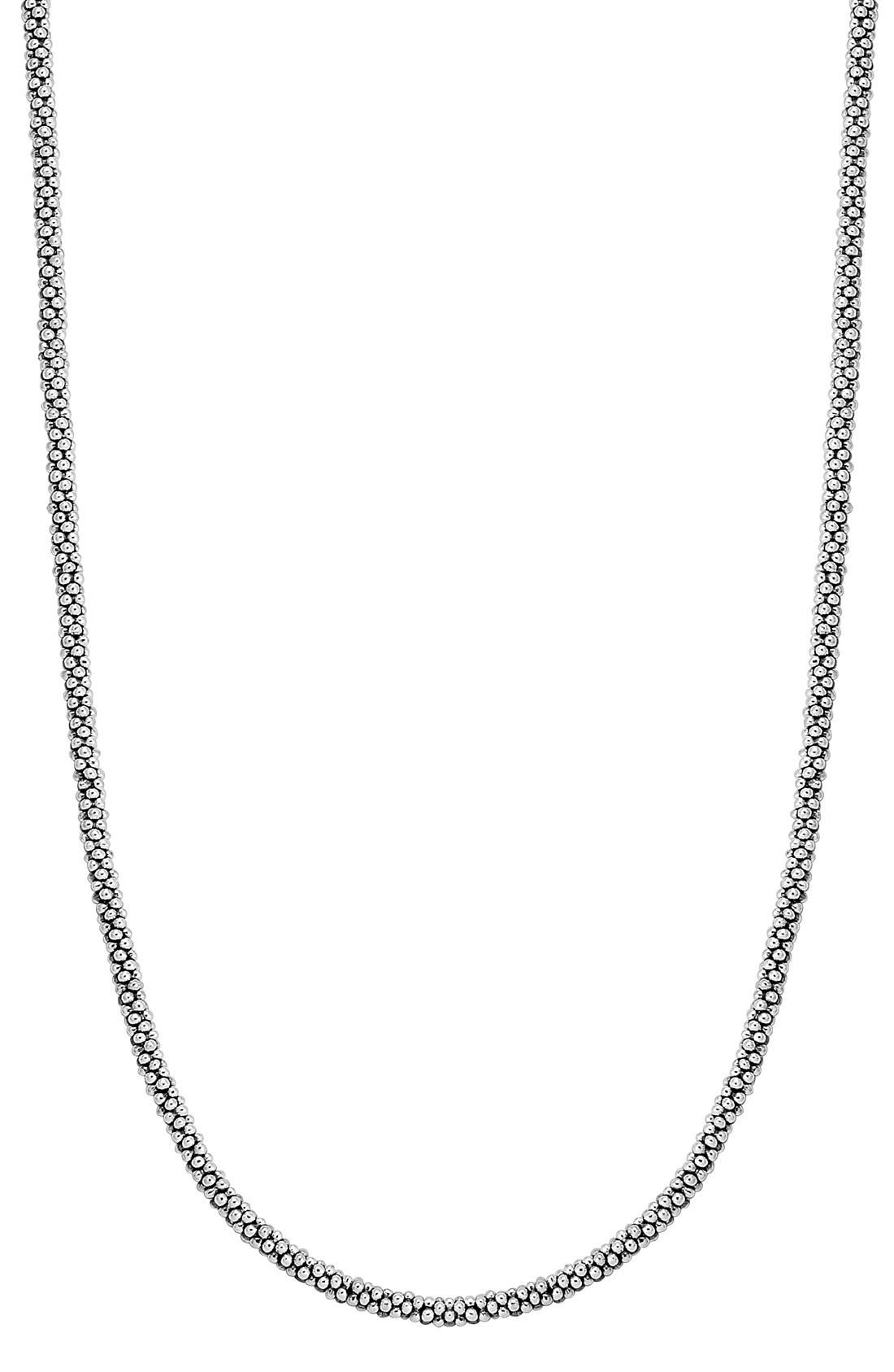 Sterling Silver Caviar 3mm Rope Necklace,                             Main thumbnail 1, color,                             Sterling Silver