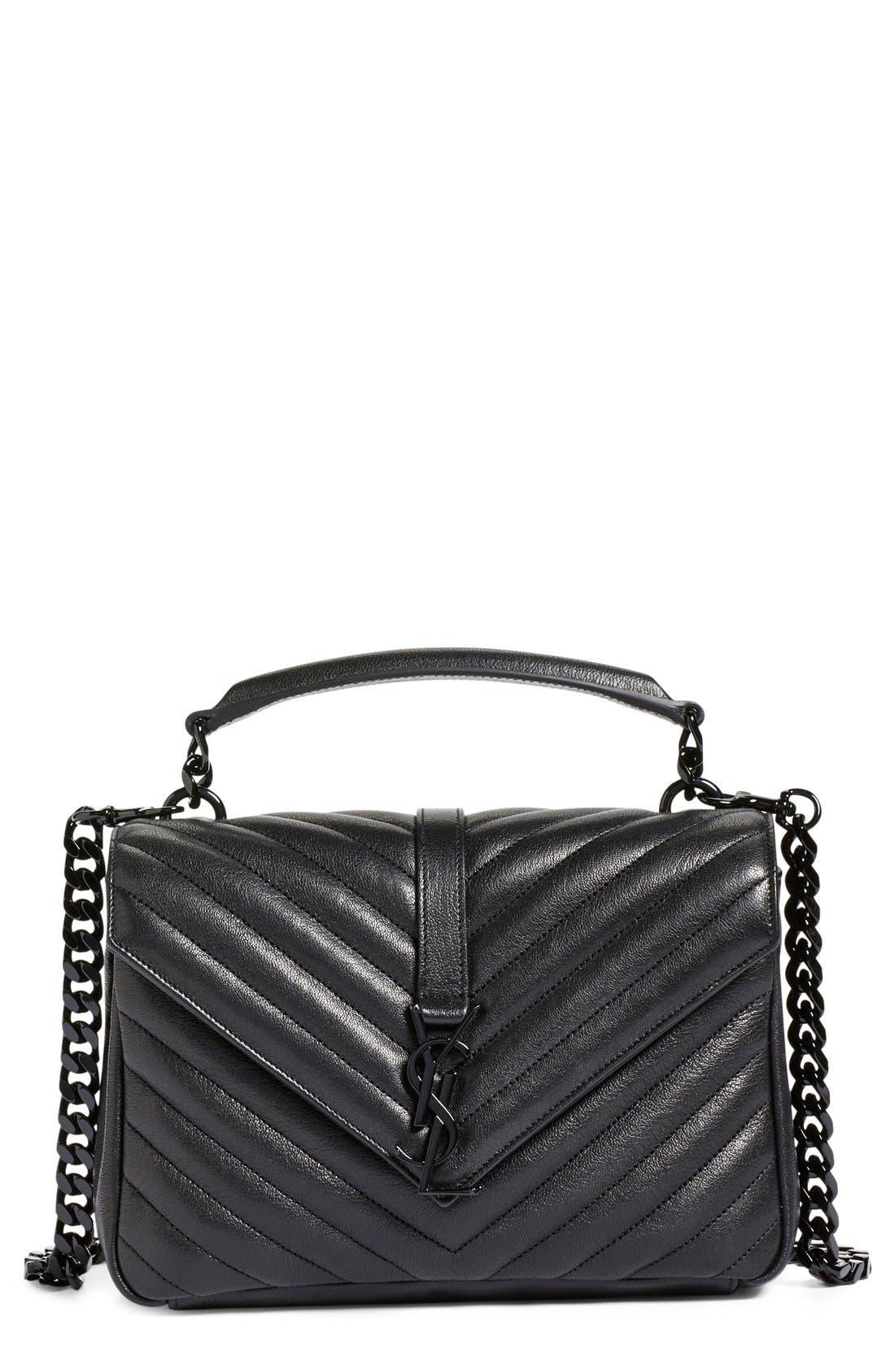 Main Image - Saint Laurent 'Medium College' Quilted Leather Shoulder Bag