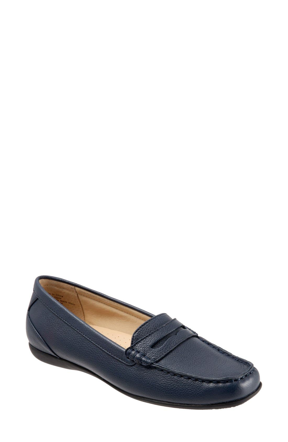 'Staci' Penny Loafer,                             Main thumbnail 1, color,                             Navy Leather