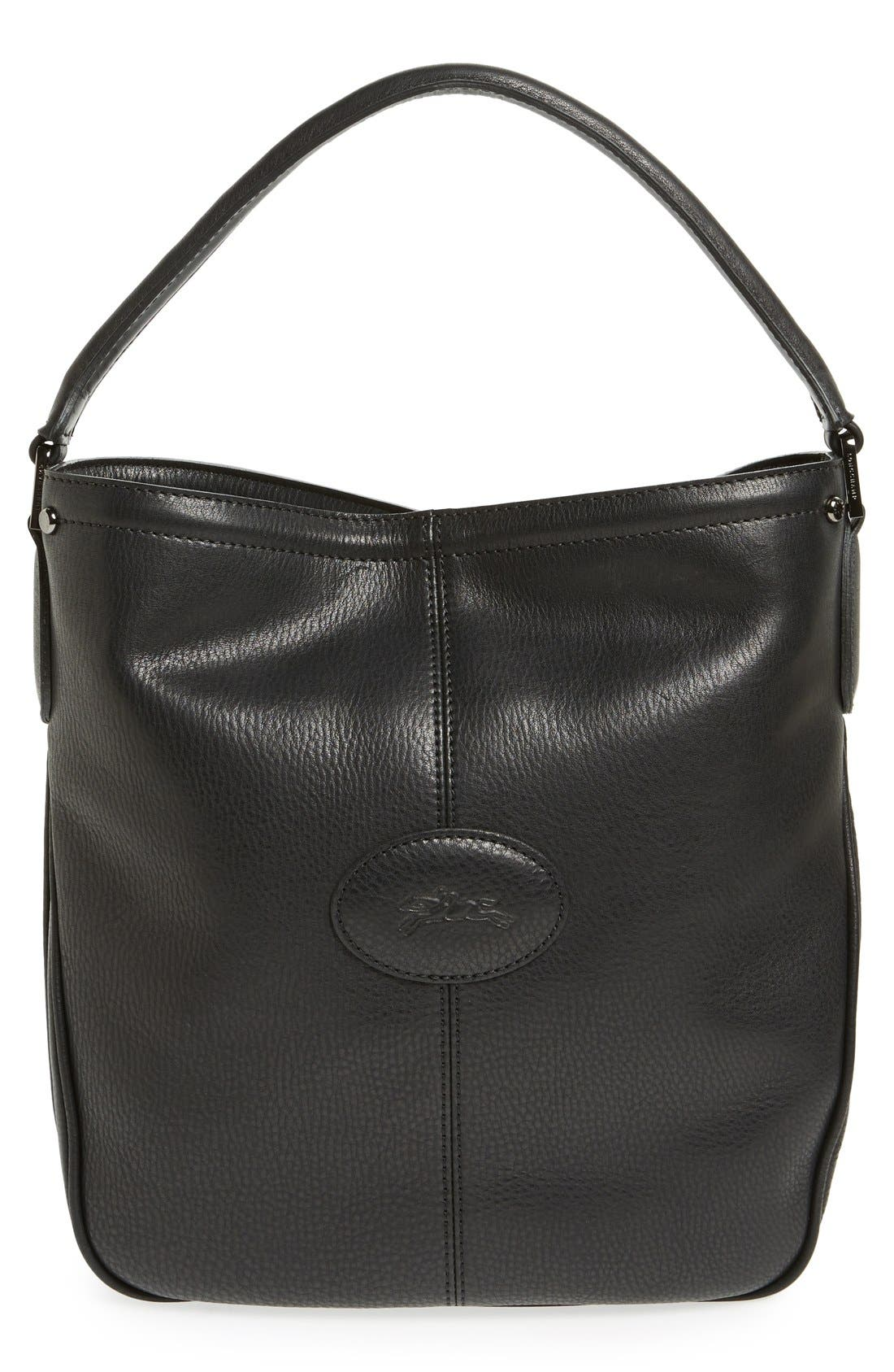 'Mystery' Leather Hobo,                             Main thumbnail 1, color,                             Black
