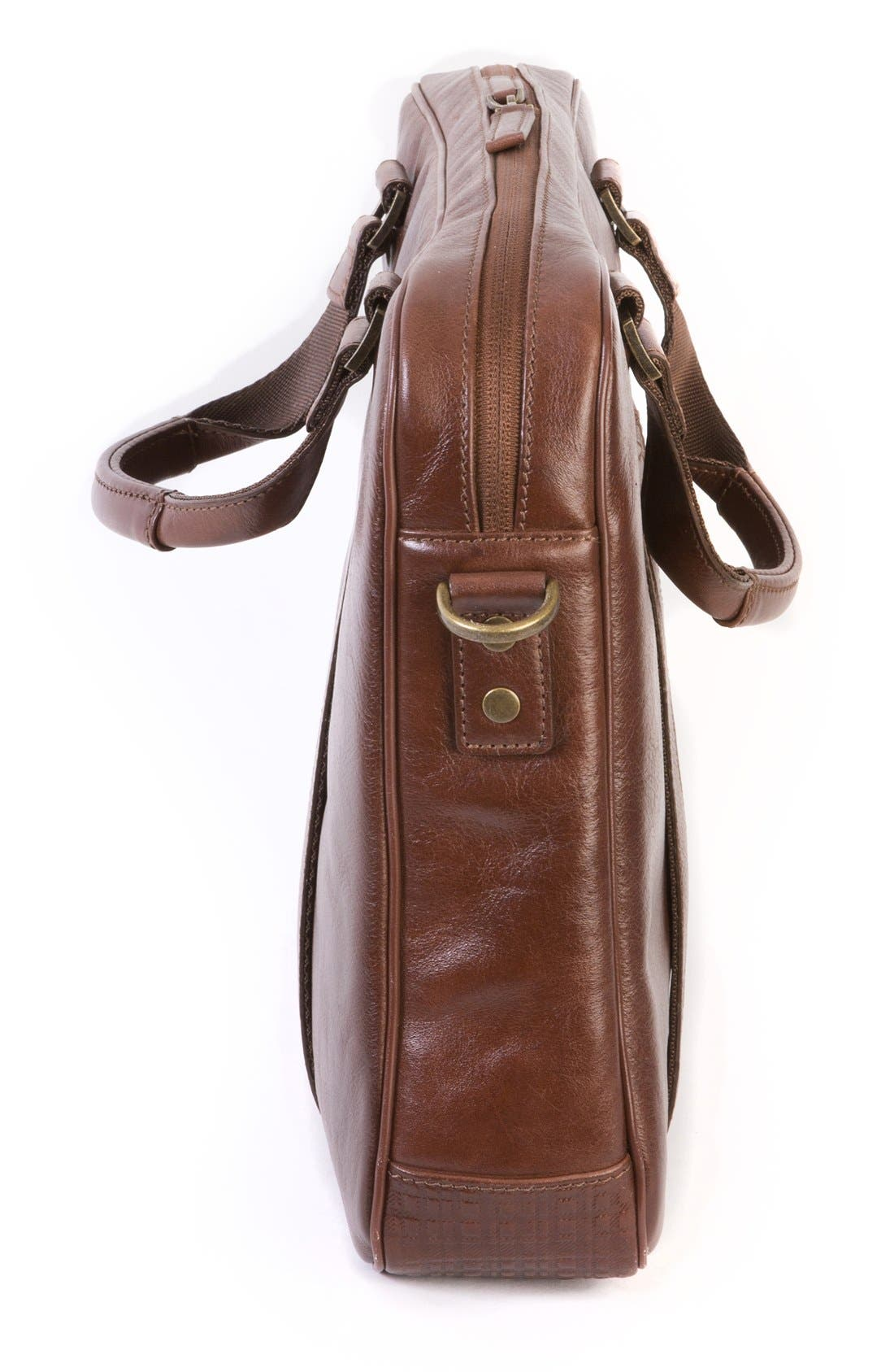 'Becker' Leather Briefcase,                             Alternate thumbnail 4, color,                             Whiskey W/ Khaki