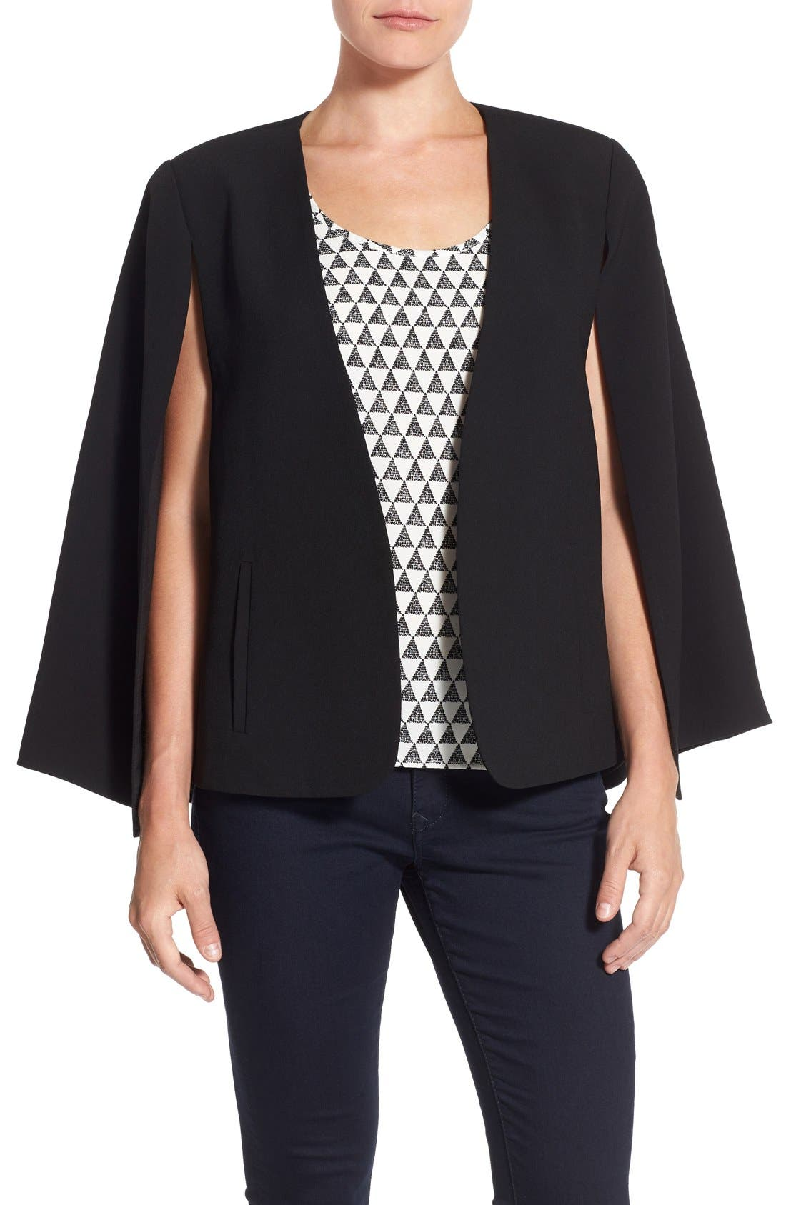 Alternate Image 1 Selected - Vince Camuto Kiss Front Cape (Regular & Petite)