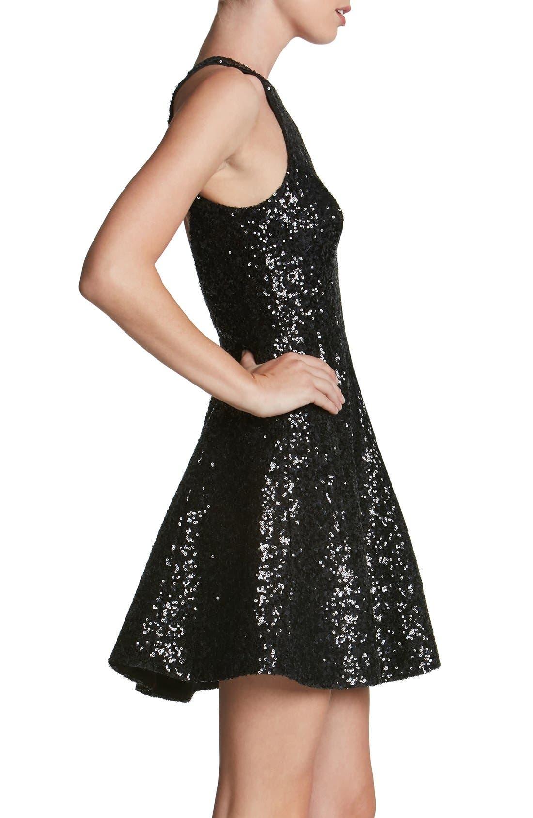 'Ginger' Sequin Fit & Flare Dress,                             Alternate thumbnail 2, color,                             Matte Black