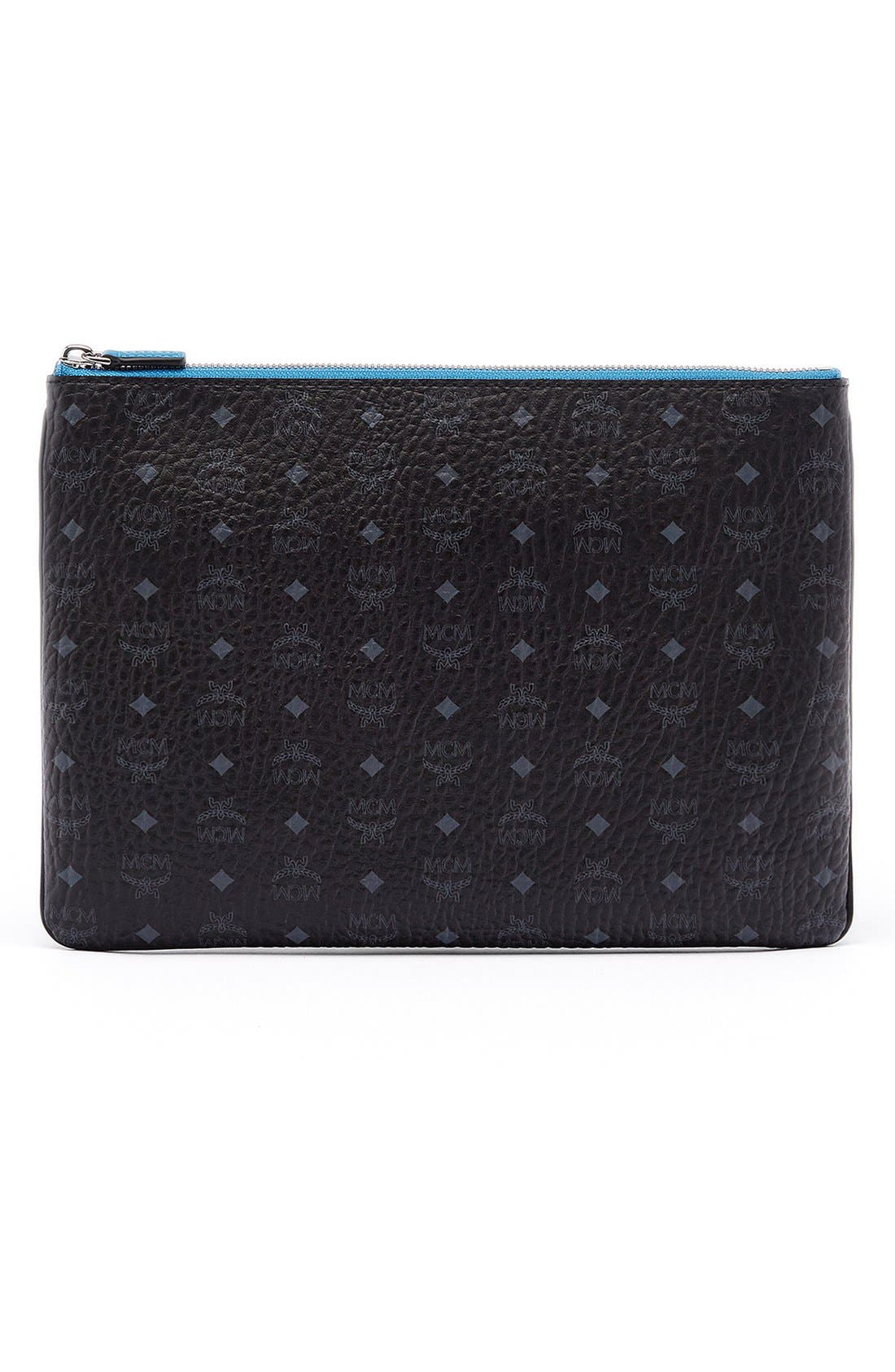 MCM Heritage Convertible Coated Canvas Zip Pouch