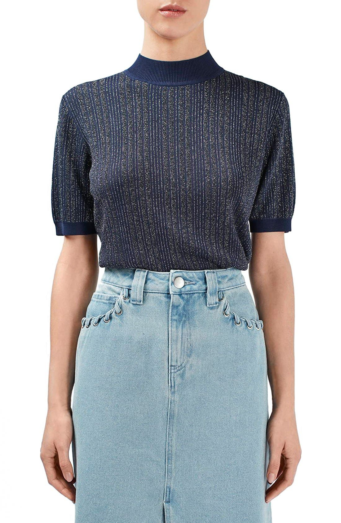 Main Image - Topshop Unique 'Lamont' Short Sleeve Metallic Stripe Sweater