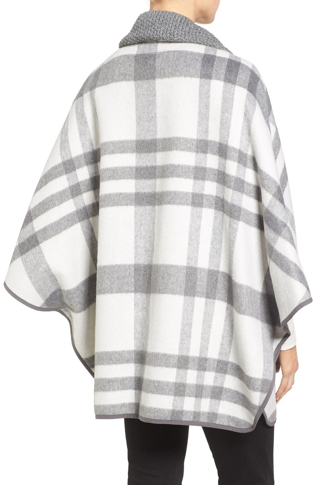 Zip Front Plaid Cape,                             Alternate thumbnail 2, color,                             Ivory/ Grey