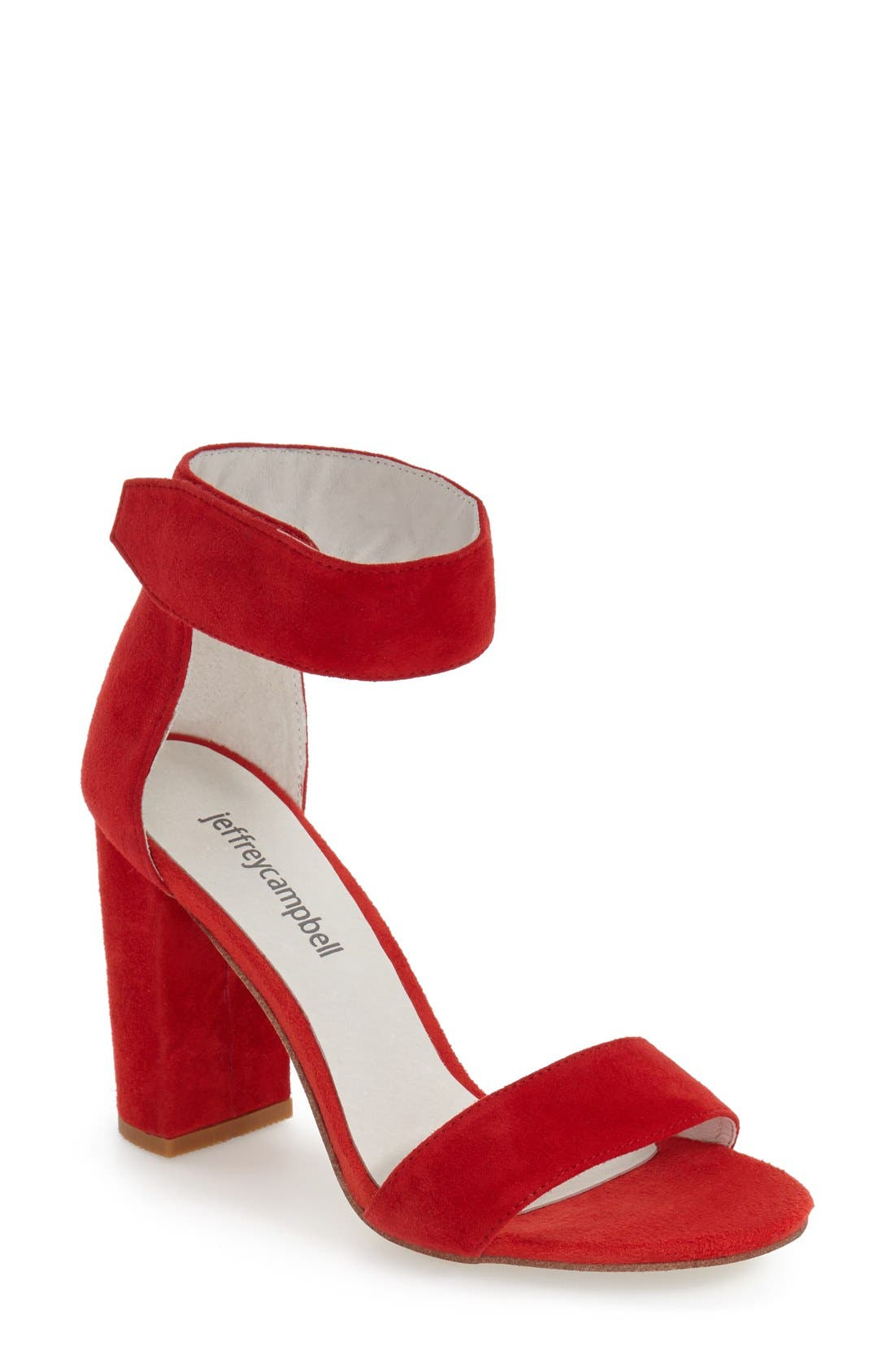 'Lindsay' Ankle Strap Sandal,                             Main thumbnail 1, color,                             Red Suede
