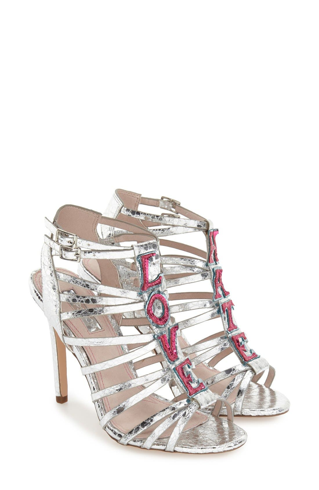 'React - Love/Hate' Sandal,                         Main,                         color, Silver Multi