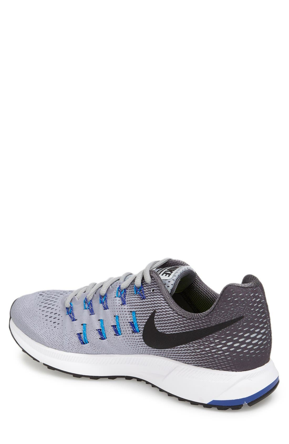 'Air Zoom Pegasus 33' Sneaker,                             Alternate thumbnail 2, color,                             Grey/ Black/ Blue Glow