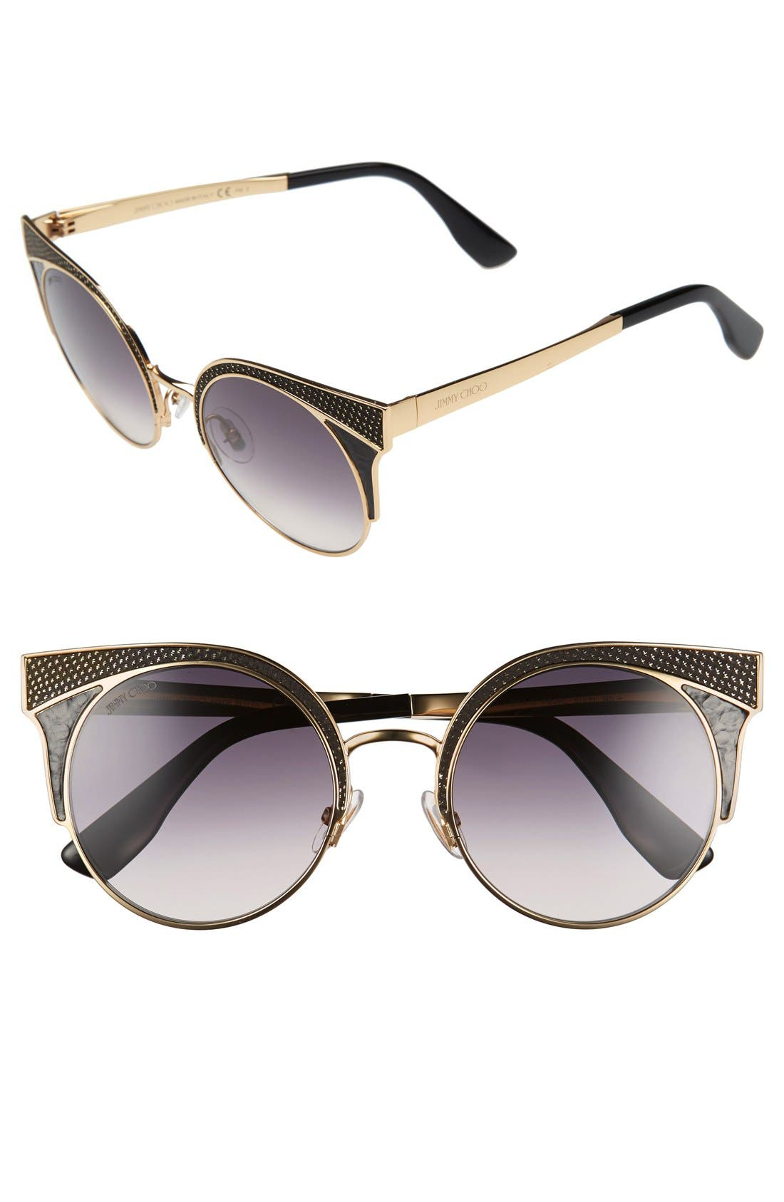 'Ora' 51mm Cat Eye Sunglasses,                             Main thumbnail 1, color,                             Rose Gold/ Black Rose