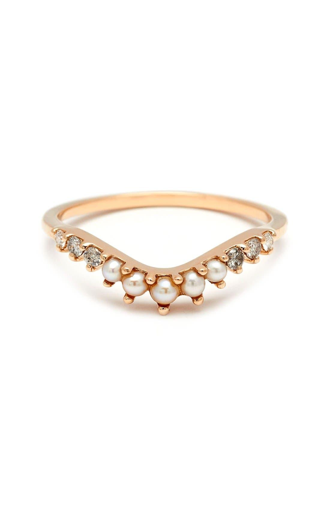 Anna Sheffield 'Tiara Curve' Diamond & Seed Pearl Ring