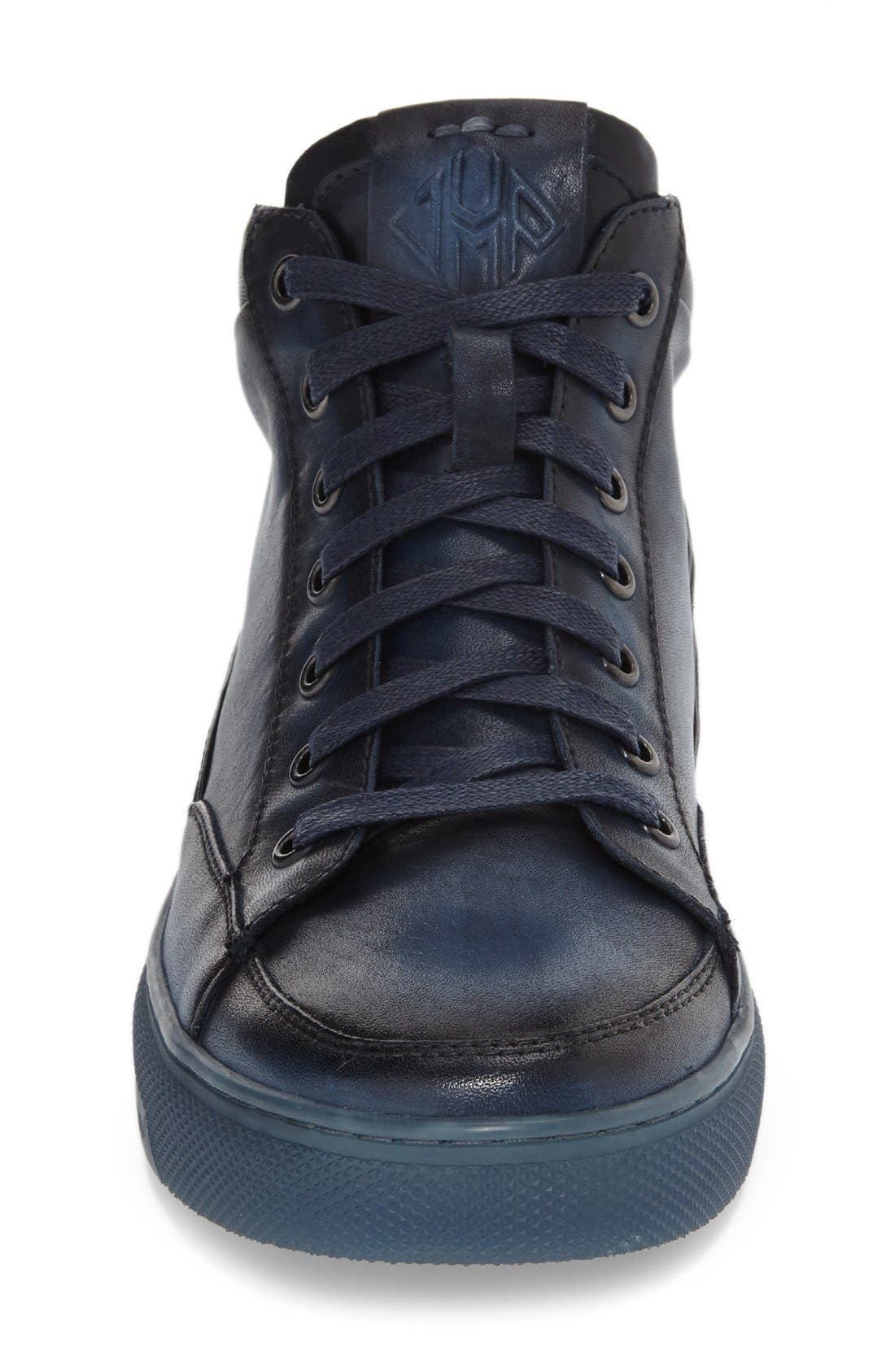 'Strickland' Sneaker,                             Alternate thumbnail 3, color,                             Navy Leather
