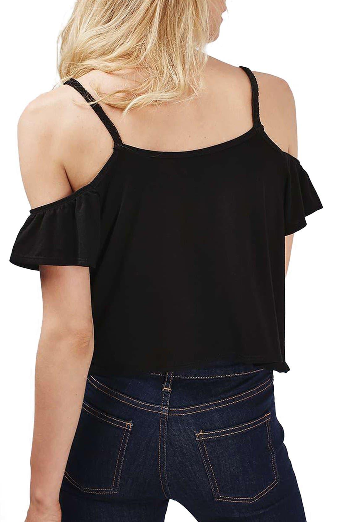 Alternate Image 2  - Topshop Short Sleeve Ruffle Bardot Top (Regular & Petite)