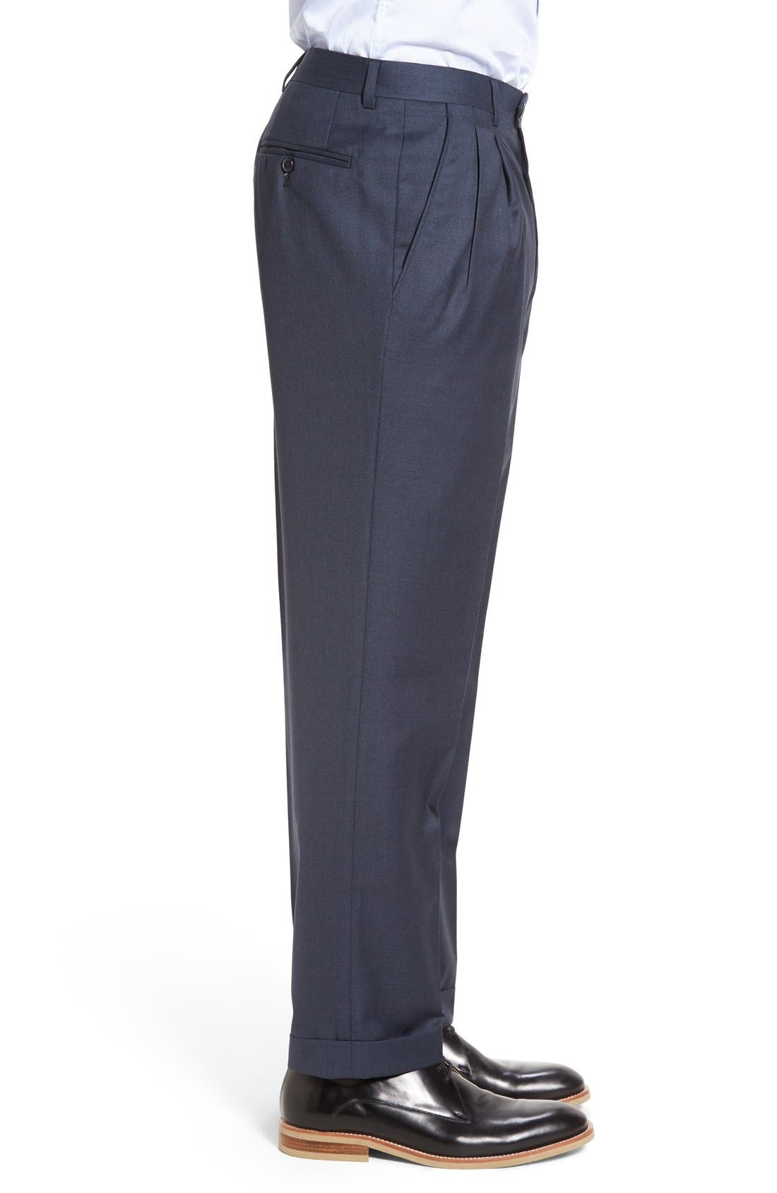 Alternate Image 3  - Santorelli 'Luxury Serge' Double Pleated Wool Trousers