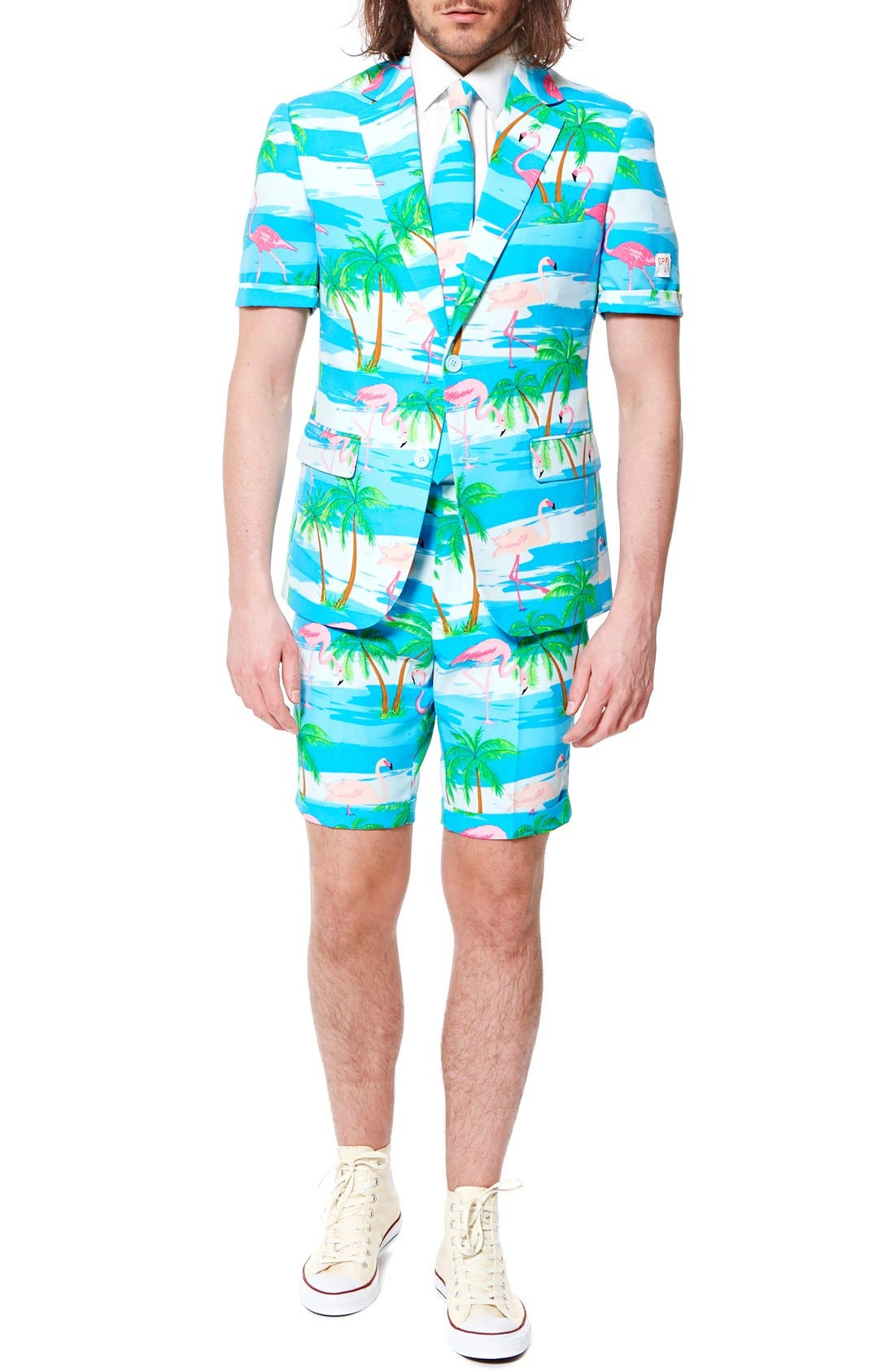 Alternate Image 4  - OppoSuits 'Flaminguy - Summer' Trim Fit Two-Piece Short Suit with Tie