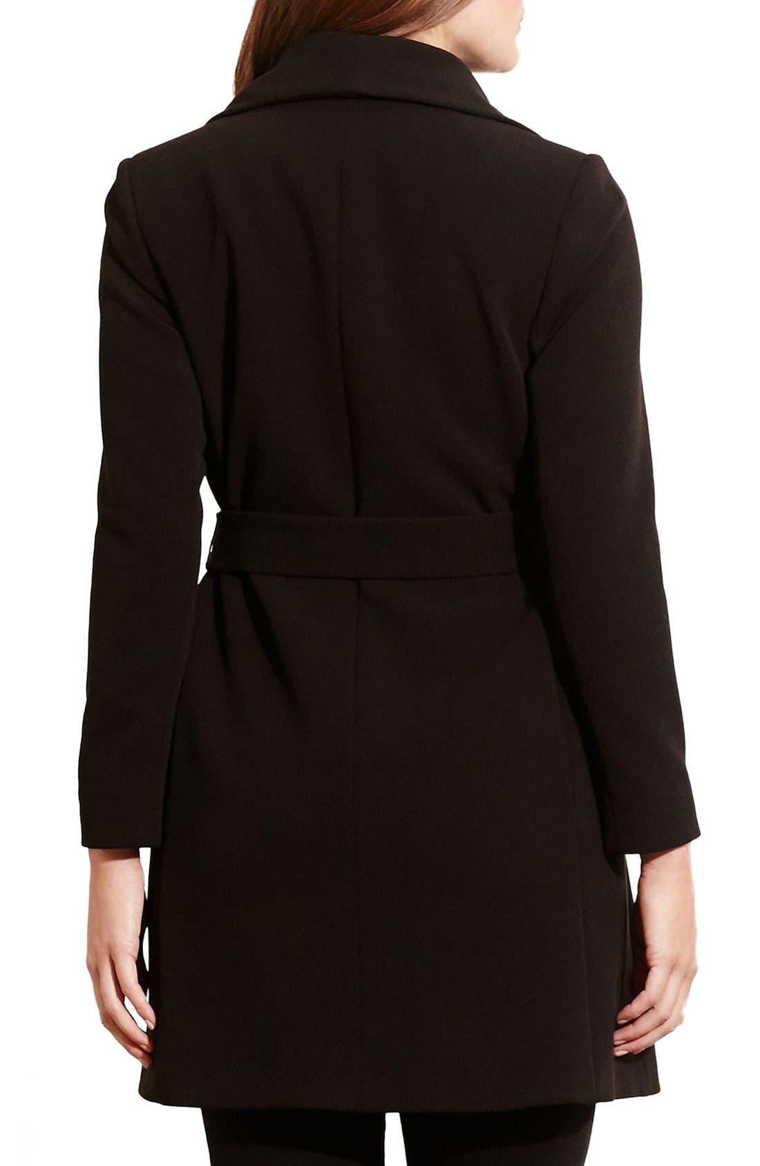 Belted Drape Front Coat,                             Alternate thumbnail 2, color,                             Black