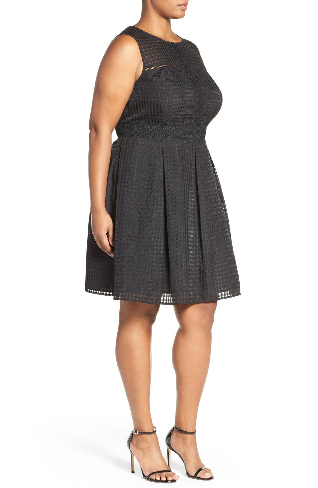 Windowpane Organdy Fit & Flare Dress,                             Alternate thumbnail 3, color,                             Black