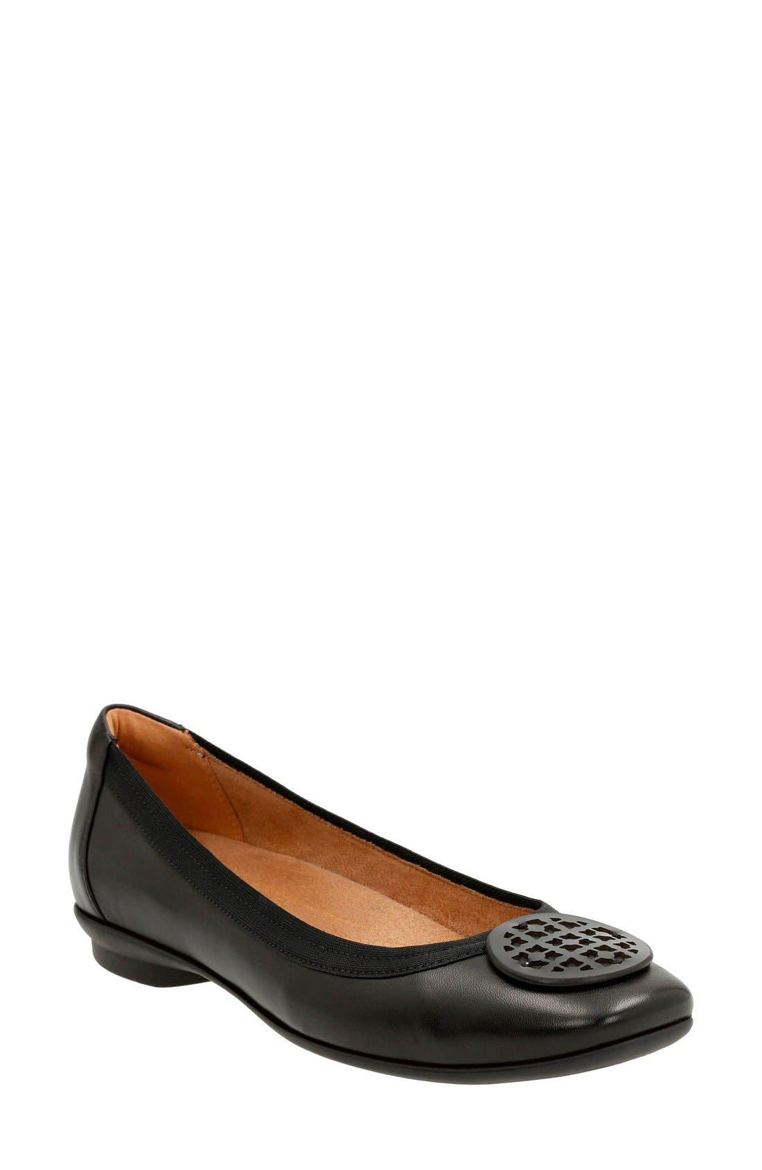 ... Black Leather. 'Candra Blush' Flat ...