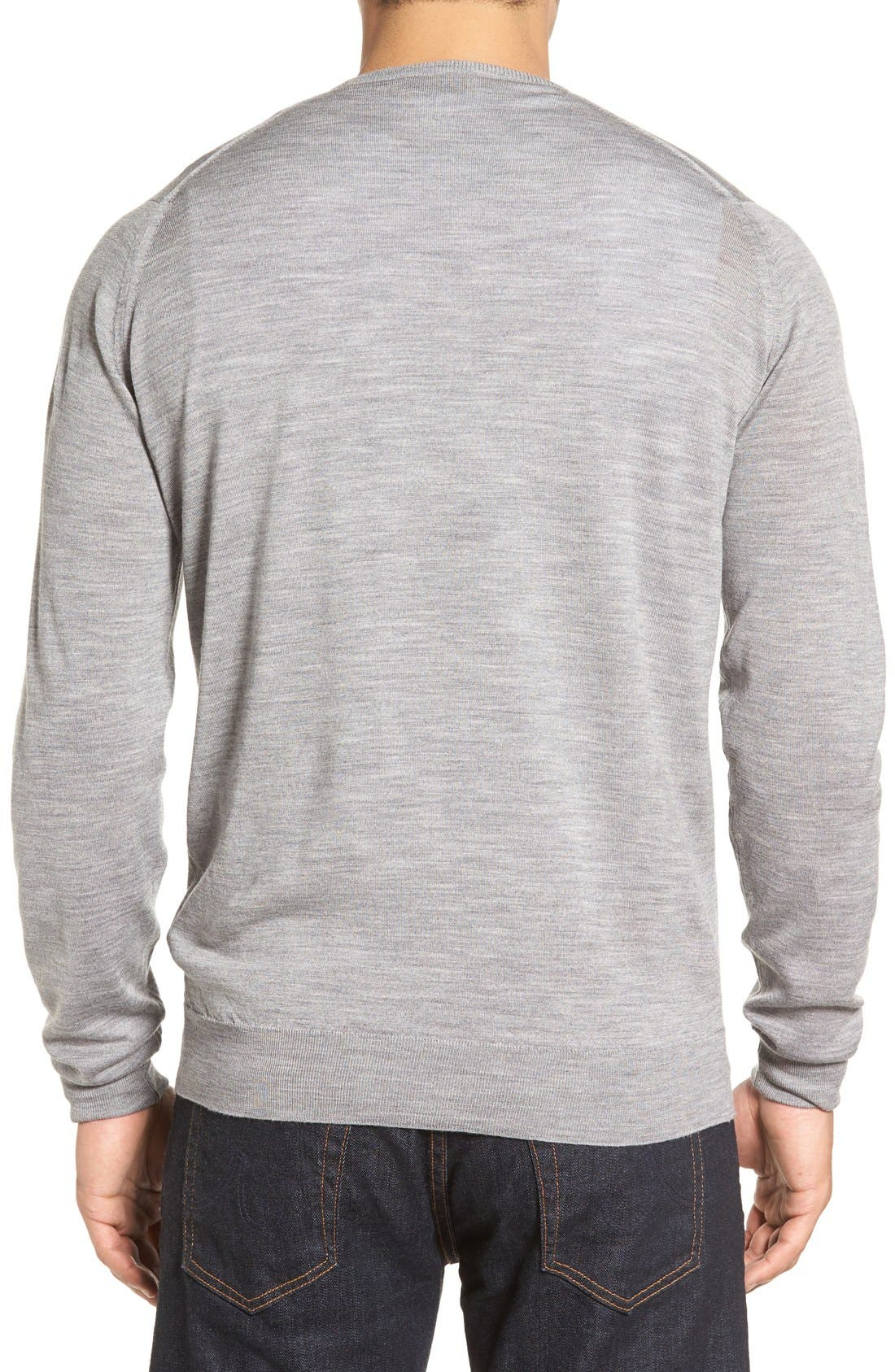 'Marcus' Easy Fit Crewneck Wool Sweater,                             Alternate thumbnail 2, color,                             Silver
