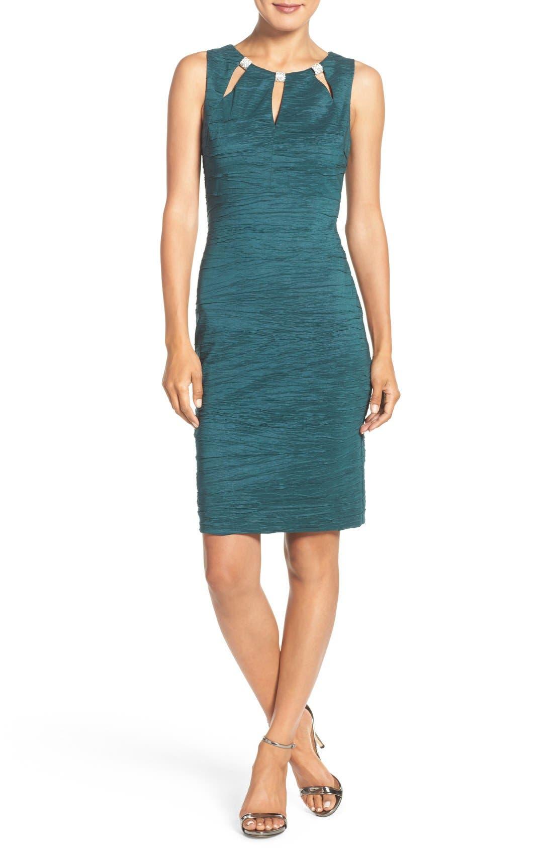 Alternate Image 4  - Eliza J Embellished Cutout Taffeta Sheath Dress (Regular & Petite)
