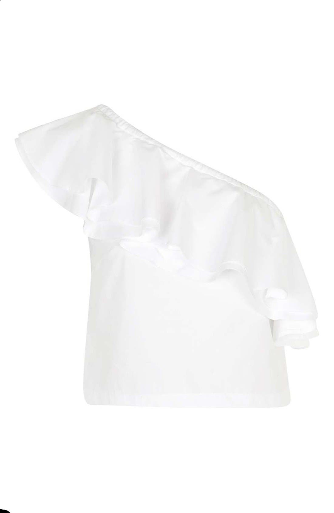 Alternate Image 4  - Topshop Poplin Ruffle One-Shoulder Top (Petite)