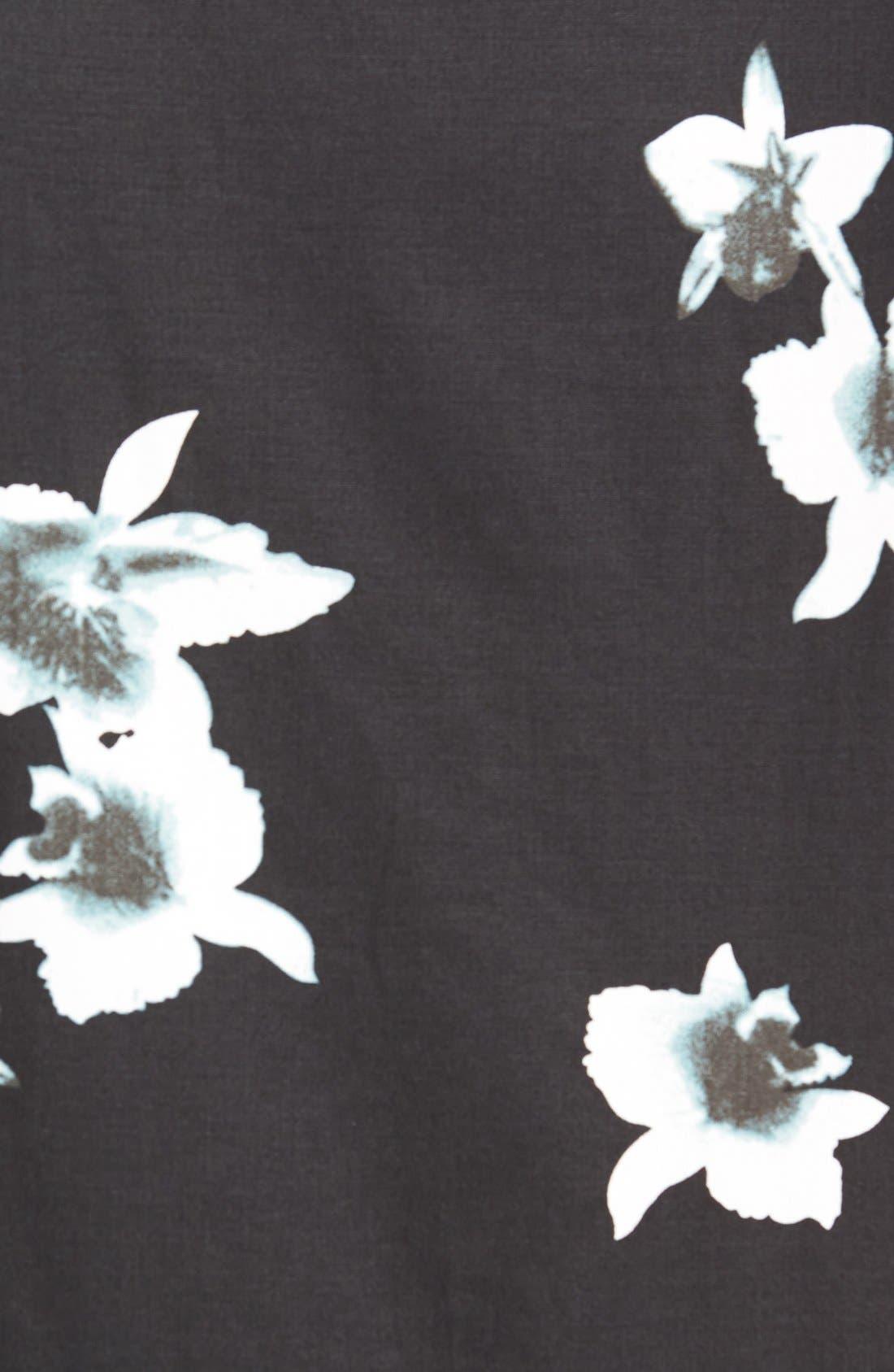 'My Wish' Short Sleeve Floral Print Sport Shirt,                             Alternate thumbnail 5, color,                             Black