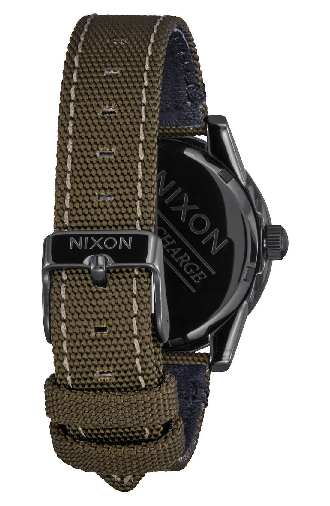 'G.I.' Round Dial Nylon Strap Watch, 36mm,                             Alternate thumbnail 2, color,                             Olive/ Black