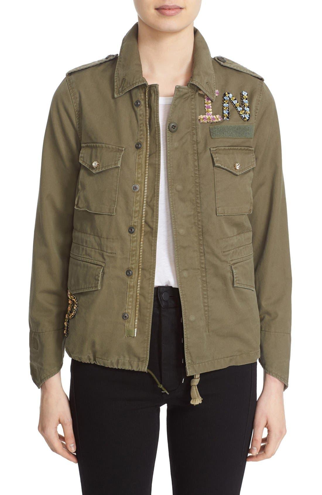 'The End' Embellished Military Jacket,                         Main,                         color, Khaki