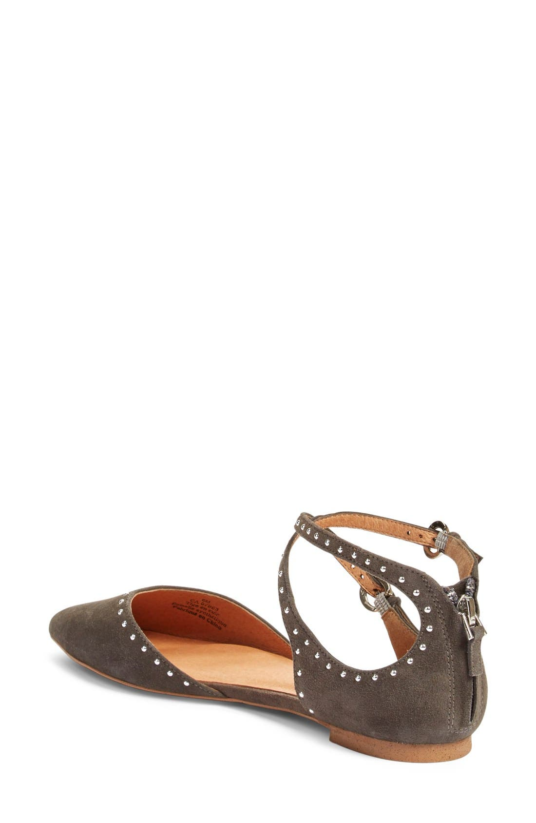 'Bristal' Ankle Strap Pointy Toe Flat,                             Alternate thumbnail 2, color,                             Charcoal Suede