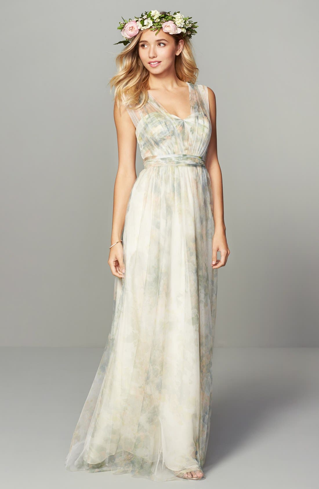 Annabelle Print Tulle Convertible Column Gown,                             Alternate thumbnail 2, color,                             Ivory Sage Rose