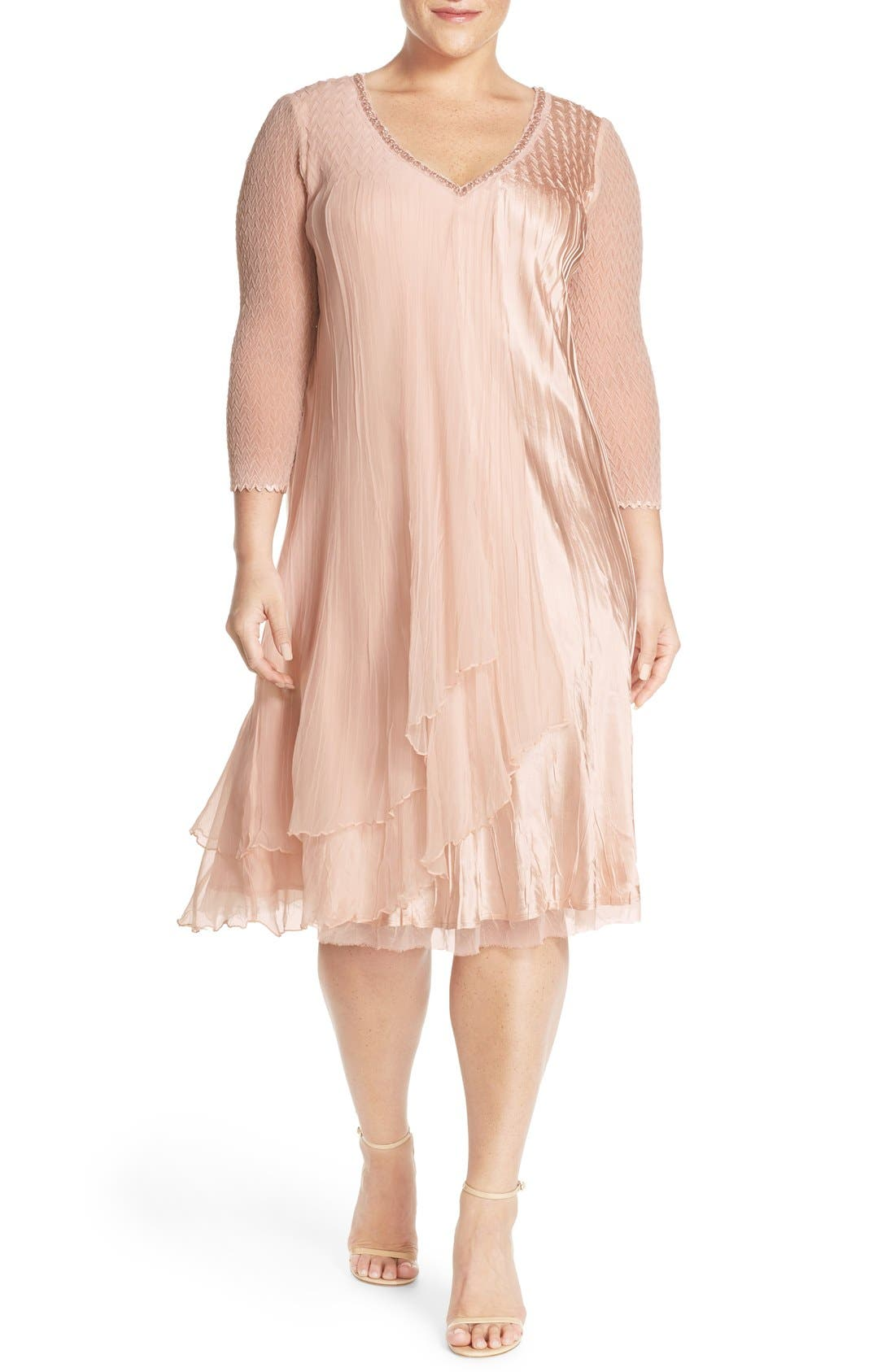 V-Neck Tiered Chiffon & Charmeuse A-Line Dress,                         Main,                         color, Vintage Rose