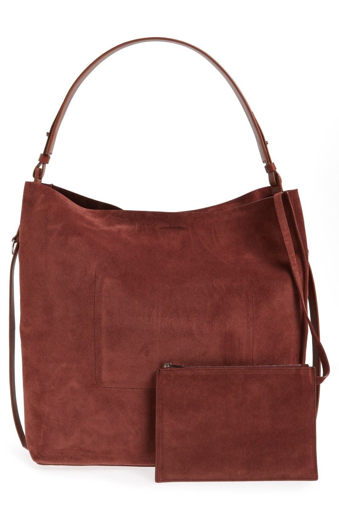 'Paradise - North/South' Suede Tote,                             Alternate thumbnail 3, color,                             Brandy/ Brick Brown