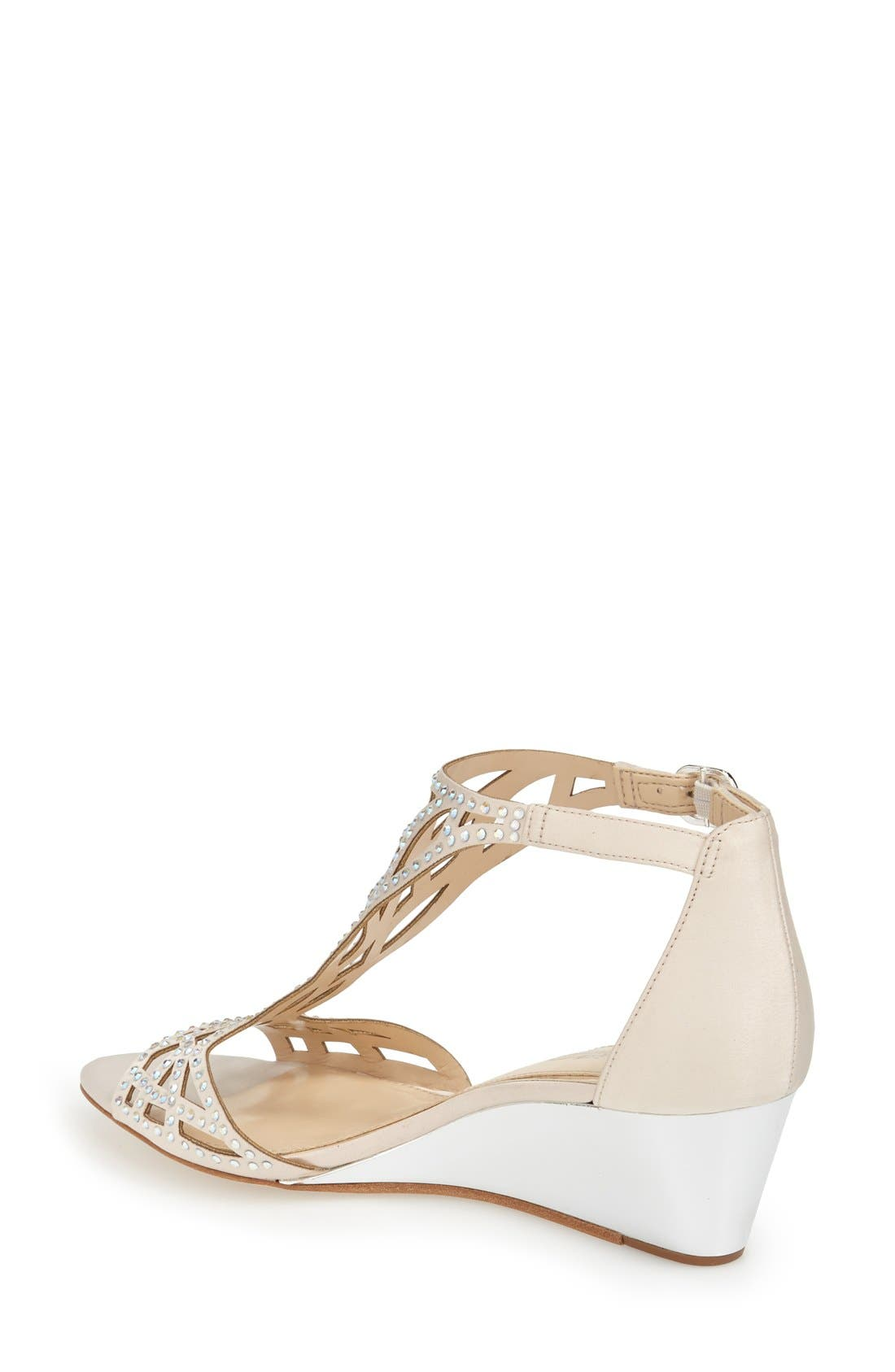 'Jalen' Wedge Sandal,                             Alternate thumbnail 2, color,                             Vanilla Satin