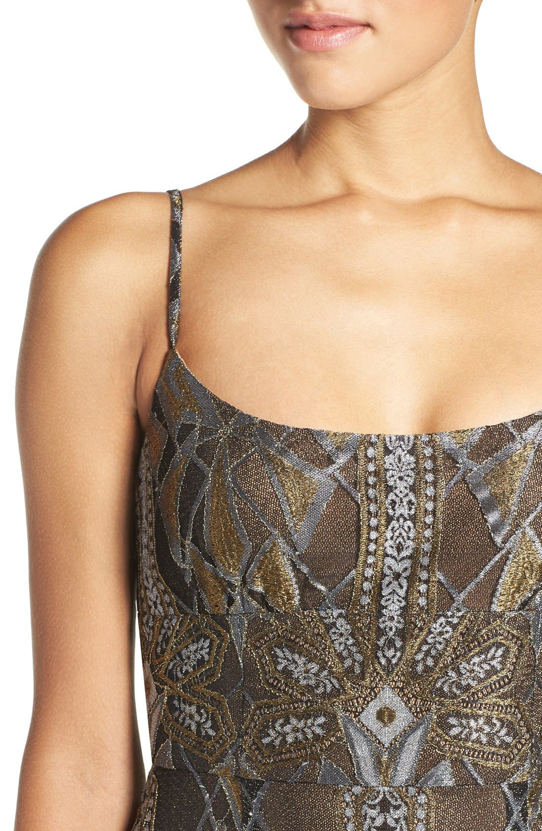 Alternate Image 4  - BCBGMAXAZRIA 'Alese' Metallic Lace Slipdress